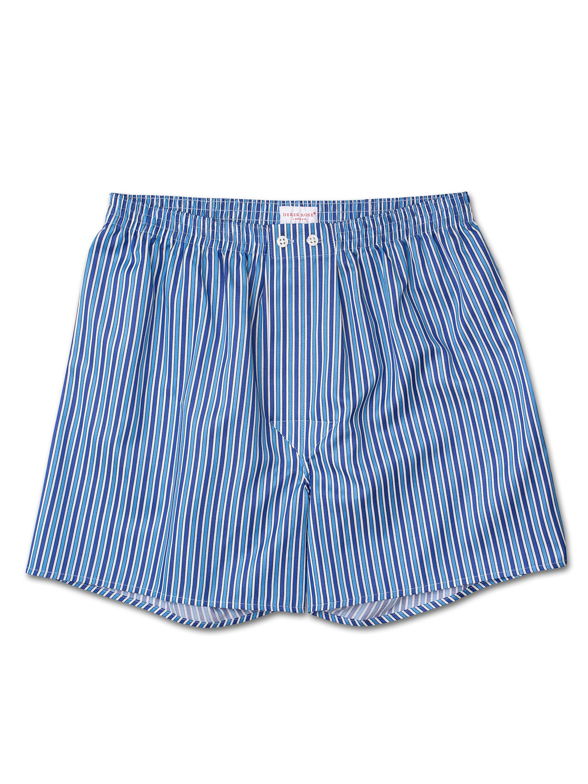 Men's Classic Fit Boxer Shorts Royal 197 Cotton Satin Stripe Blue