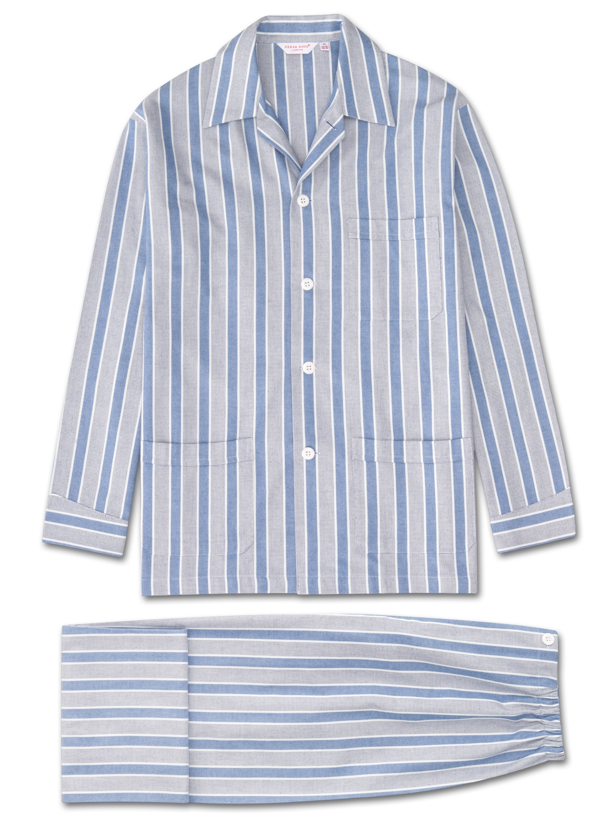 Men's Classic Fit Pyjamas Arctic 17 Brushed Cotton Stripe Blue