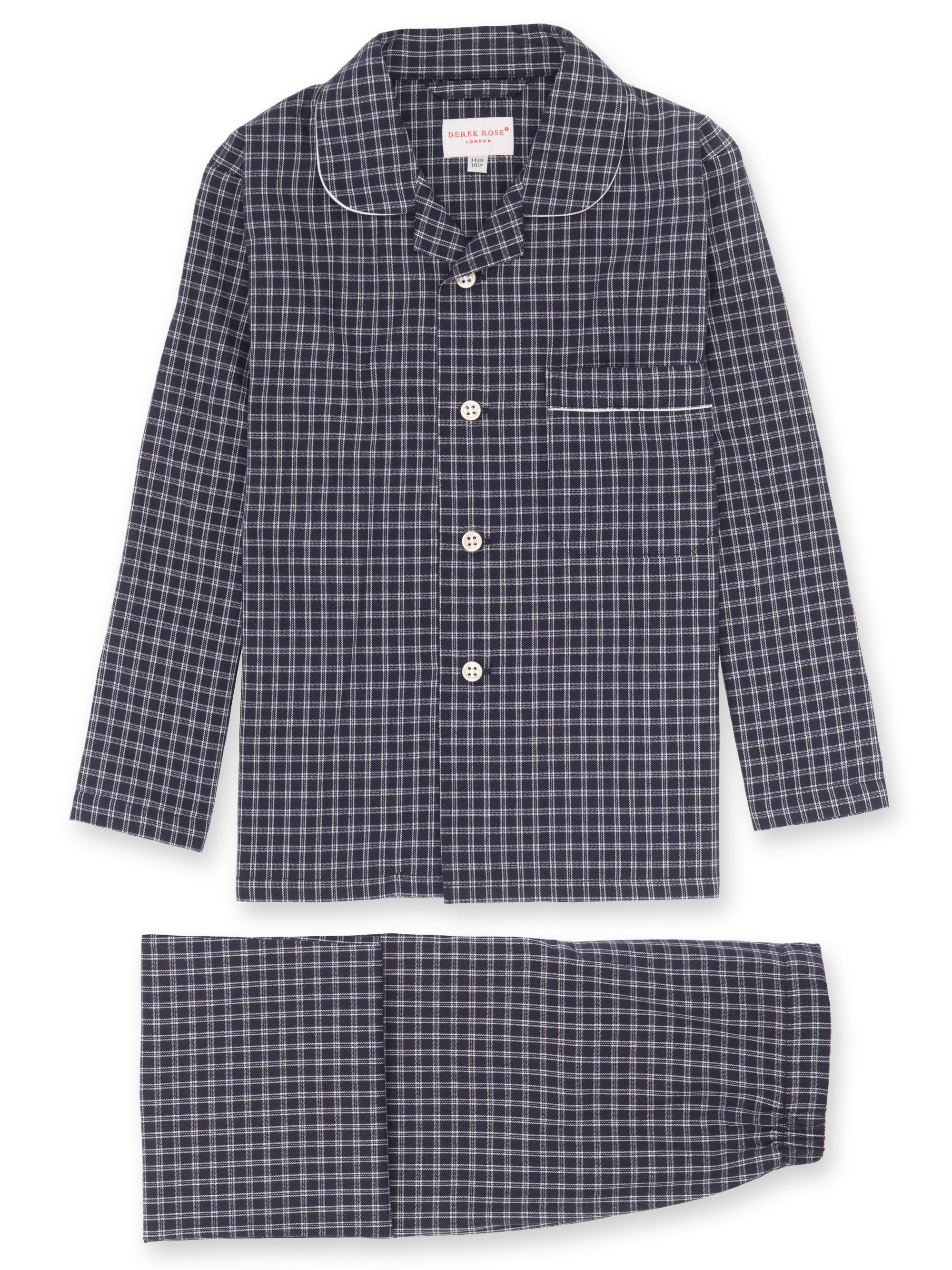 Boys' Pyjamas Braemar 32 Brushed Cotton Check Navy