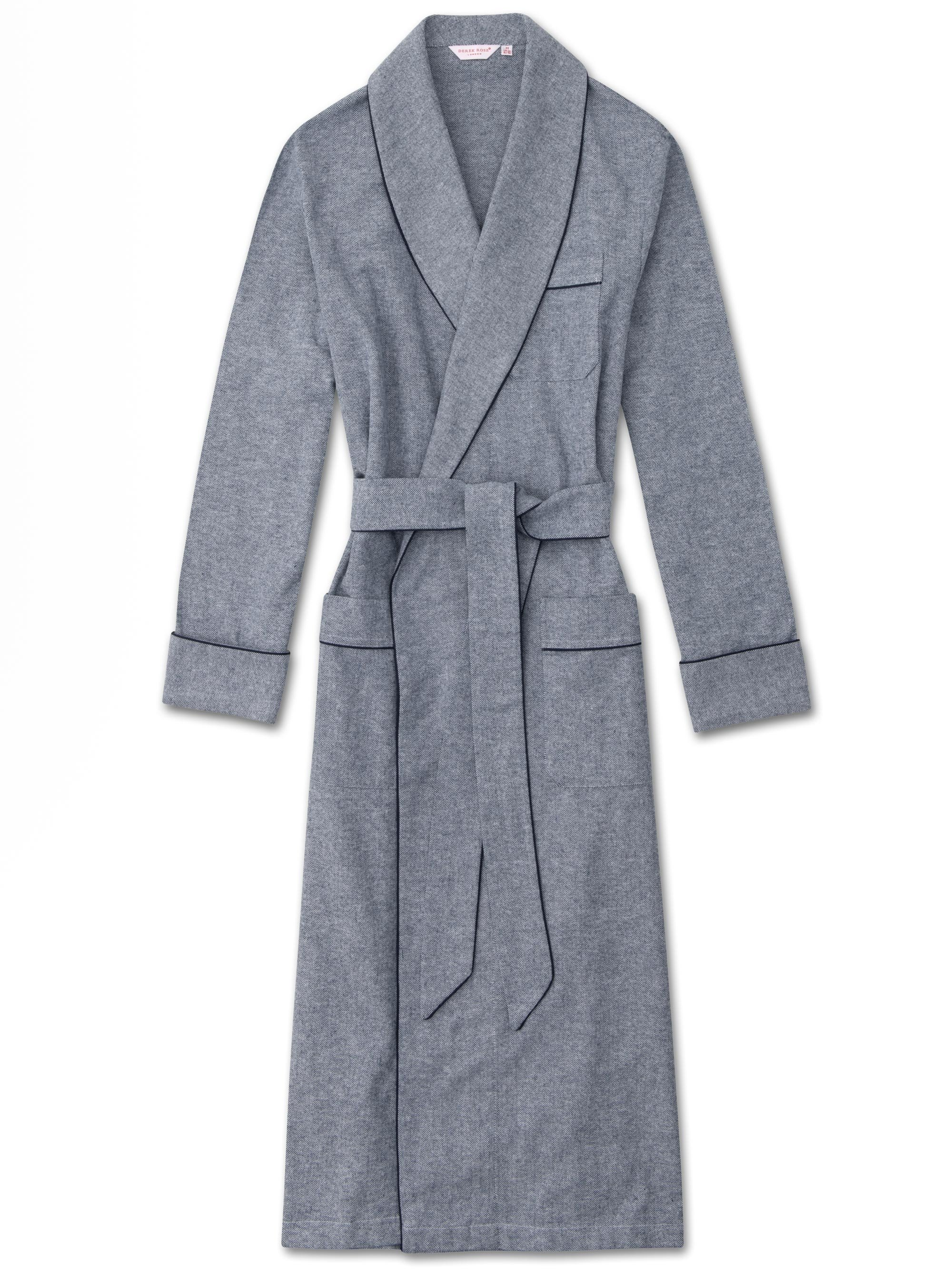 Men's Piped Dressing Gown Kelburn 5 Brushed Cotton Navy