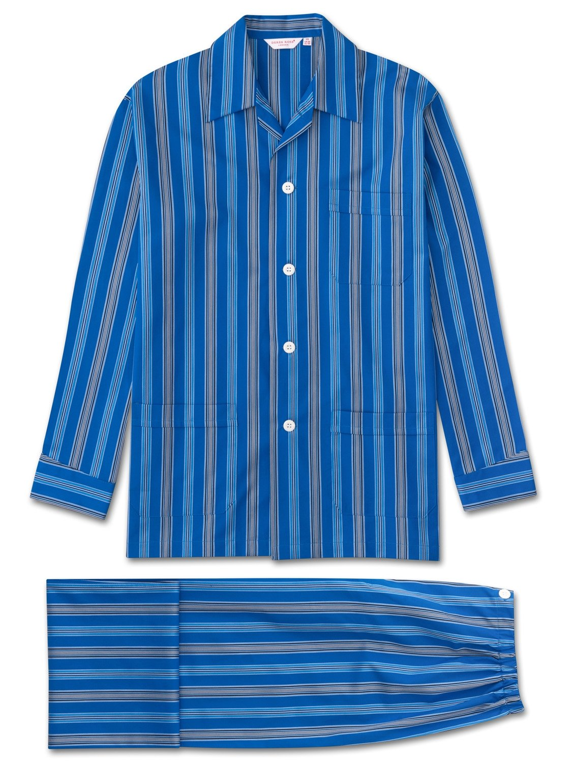 Men's Classic Fit Pyjamas Royal 208 Cotton Satin Stripe Blue