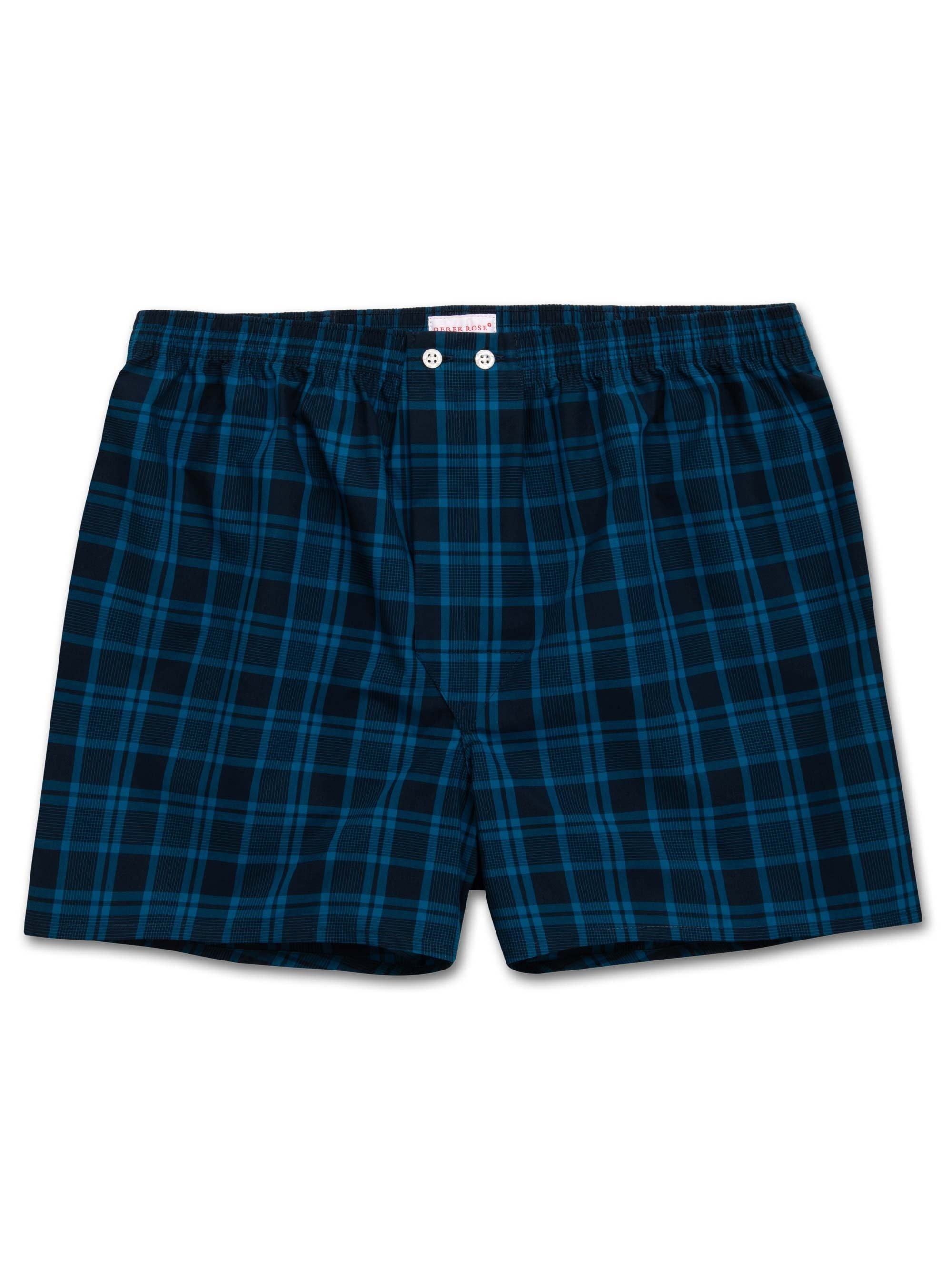 Men's Classic Fit Boxer Shorts Barker 24 Cotton Check Navy