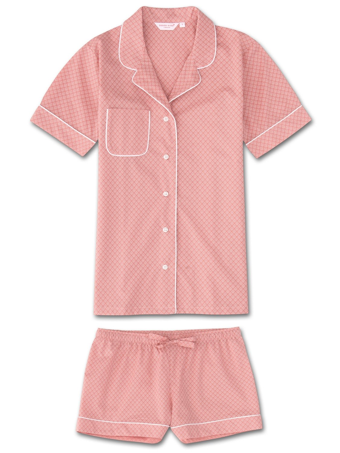 Women's Shortie Pyjamas Nelson 66 Cotton Batiste Pink