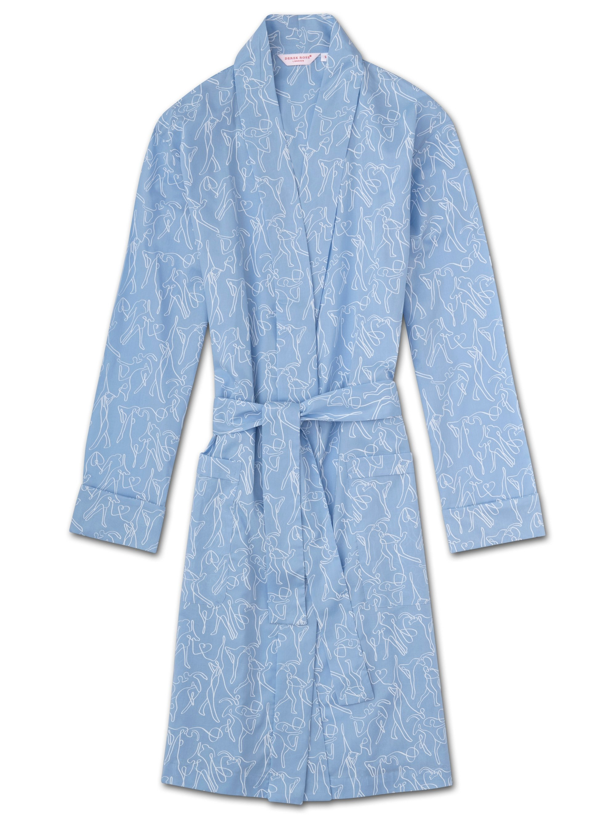 Women's Dressing Gown Nelson 76 Cotton Batiste Sky