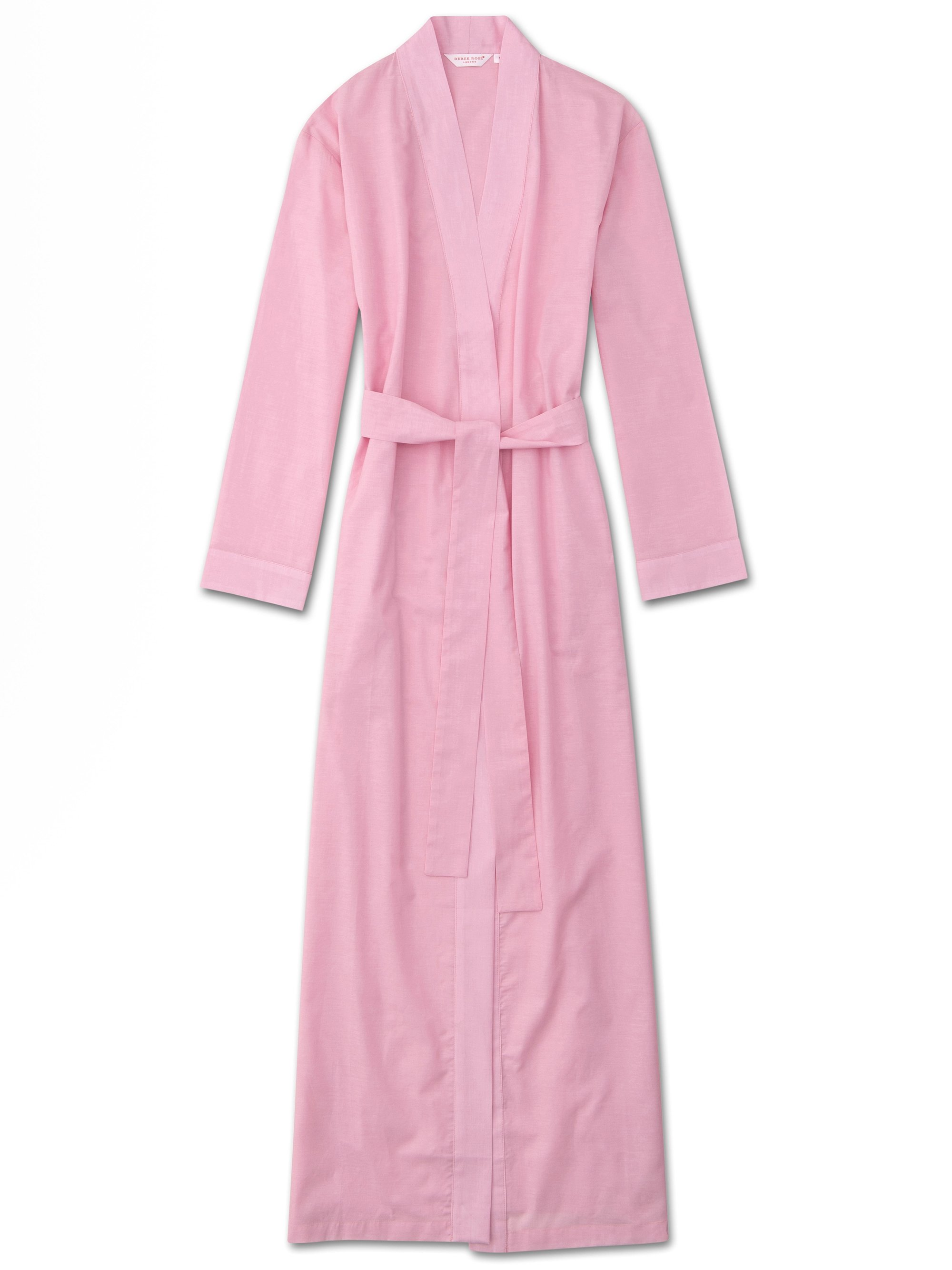 Women's Full Length Dressing Gown Amalfi Cotton Batiste Rose