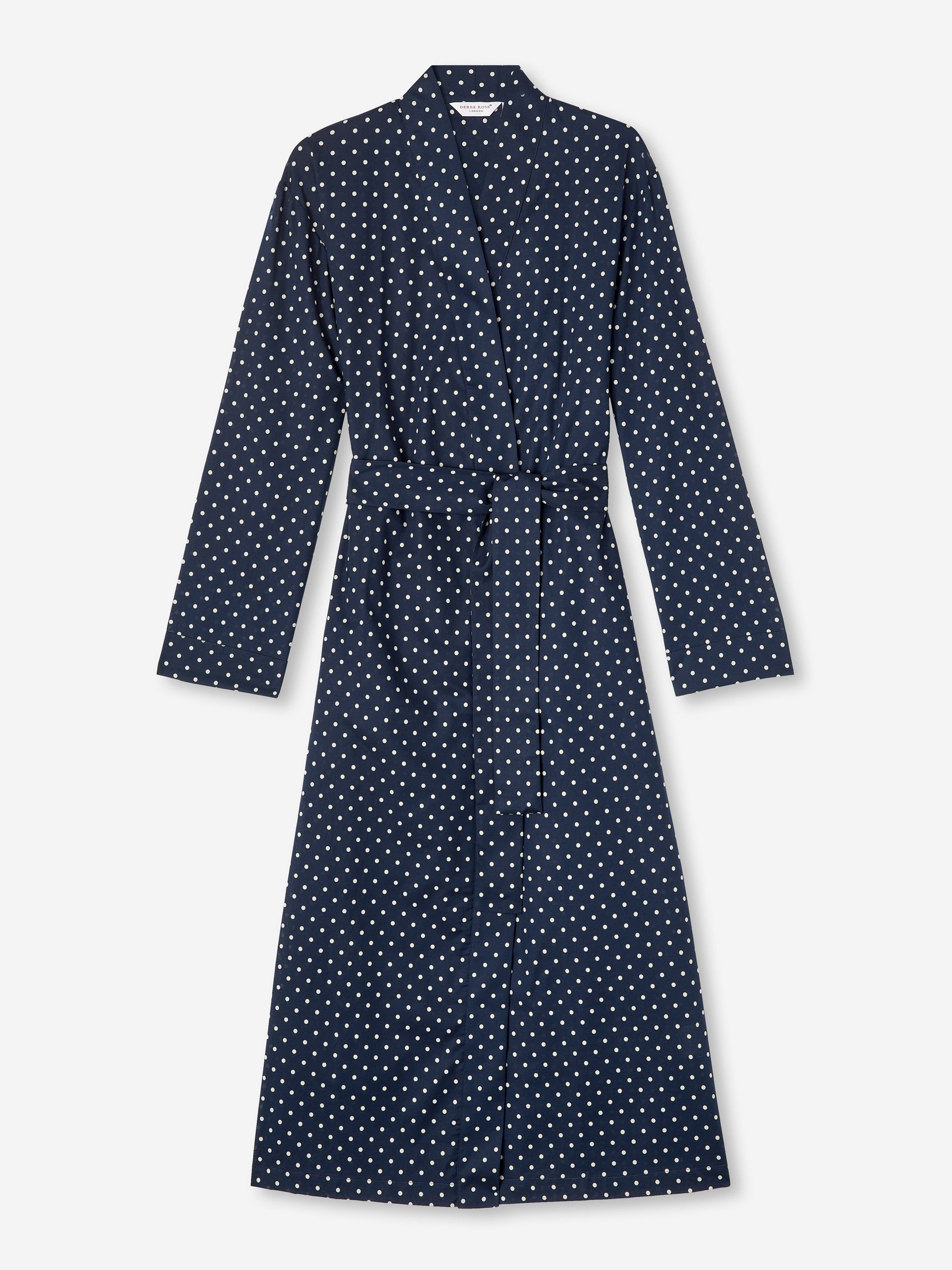 Women's Mid Length Dressing Gown Plaza 60 Cotton Batiste Navy