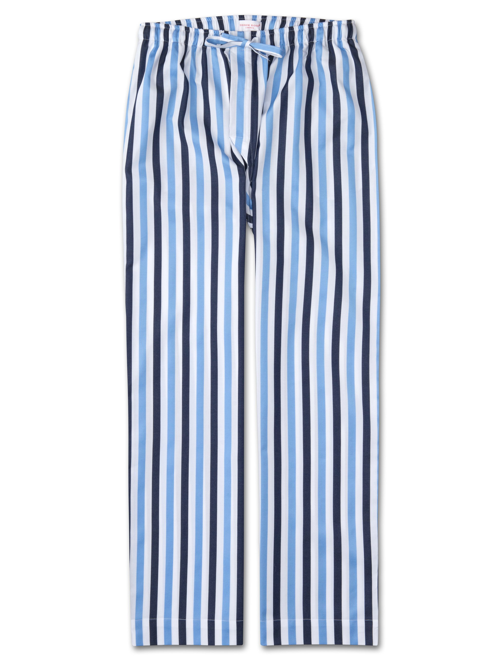 Men's Lounge Trousers Windsor 40 Cotton Satin Stripe Blue