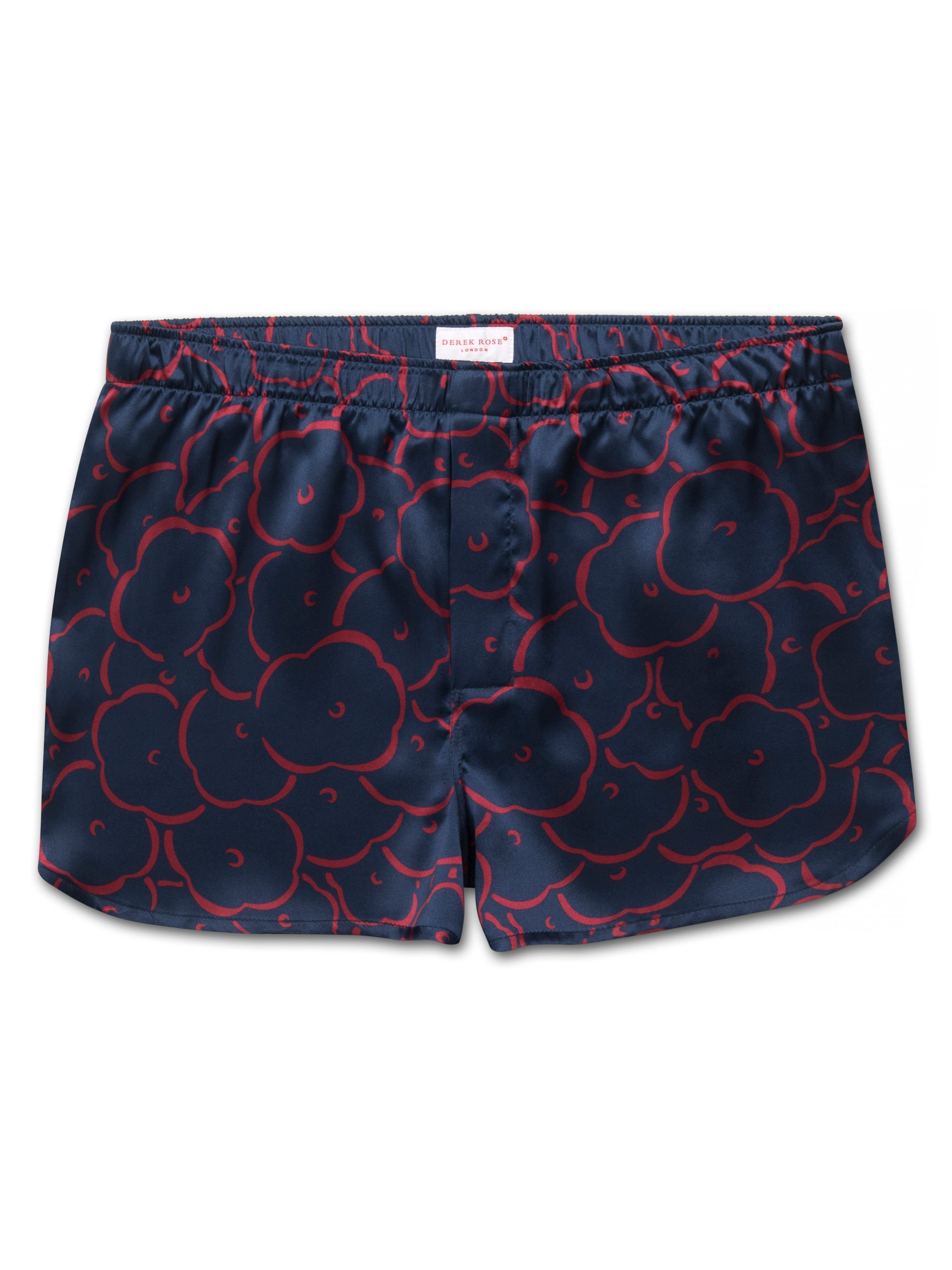 Men's Modern Fit Boxer Shorts Brindisi 53 Pure Silk Satin Navy