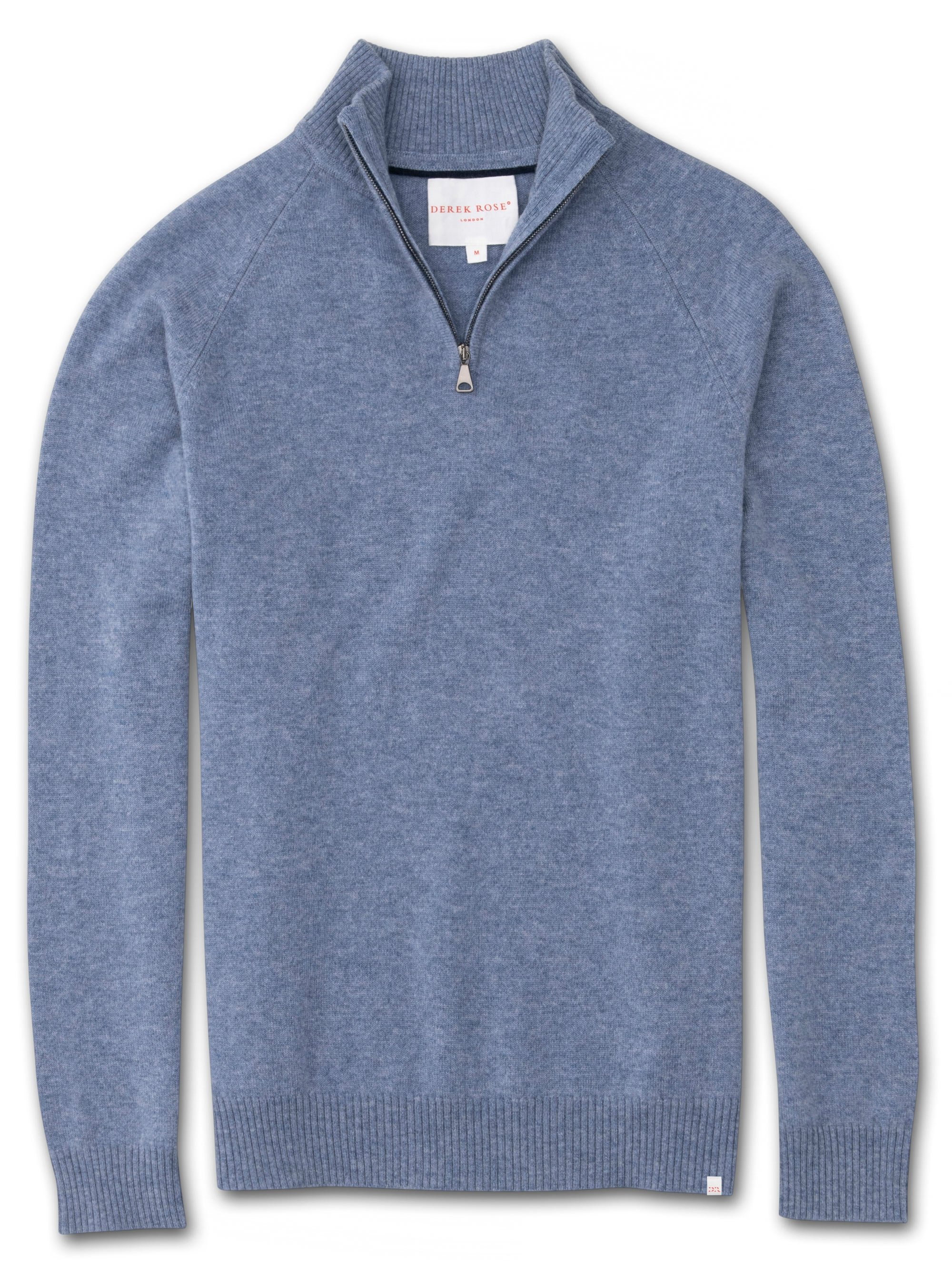 Men's Cashmere Half-Zip Sweater Finley Pure Cashmere Blue
