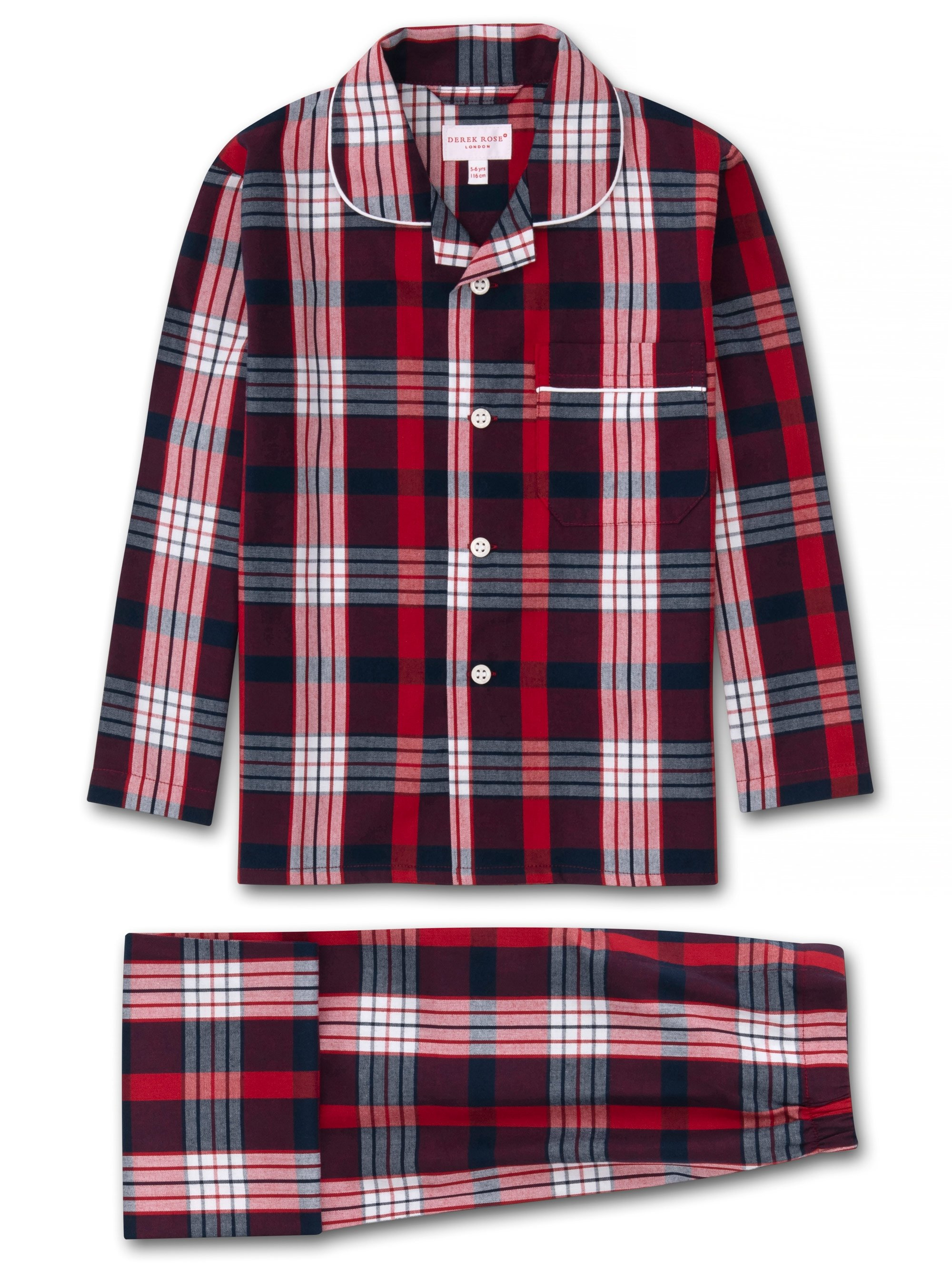 Kids' Pyjamas Ranga 40 Brushed Cotton Check Red