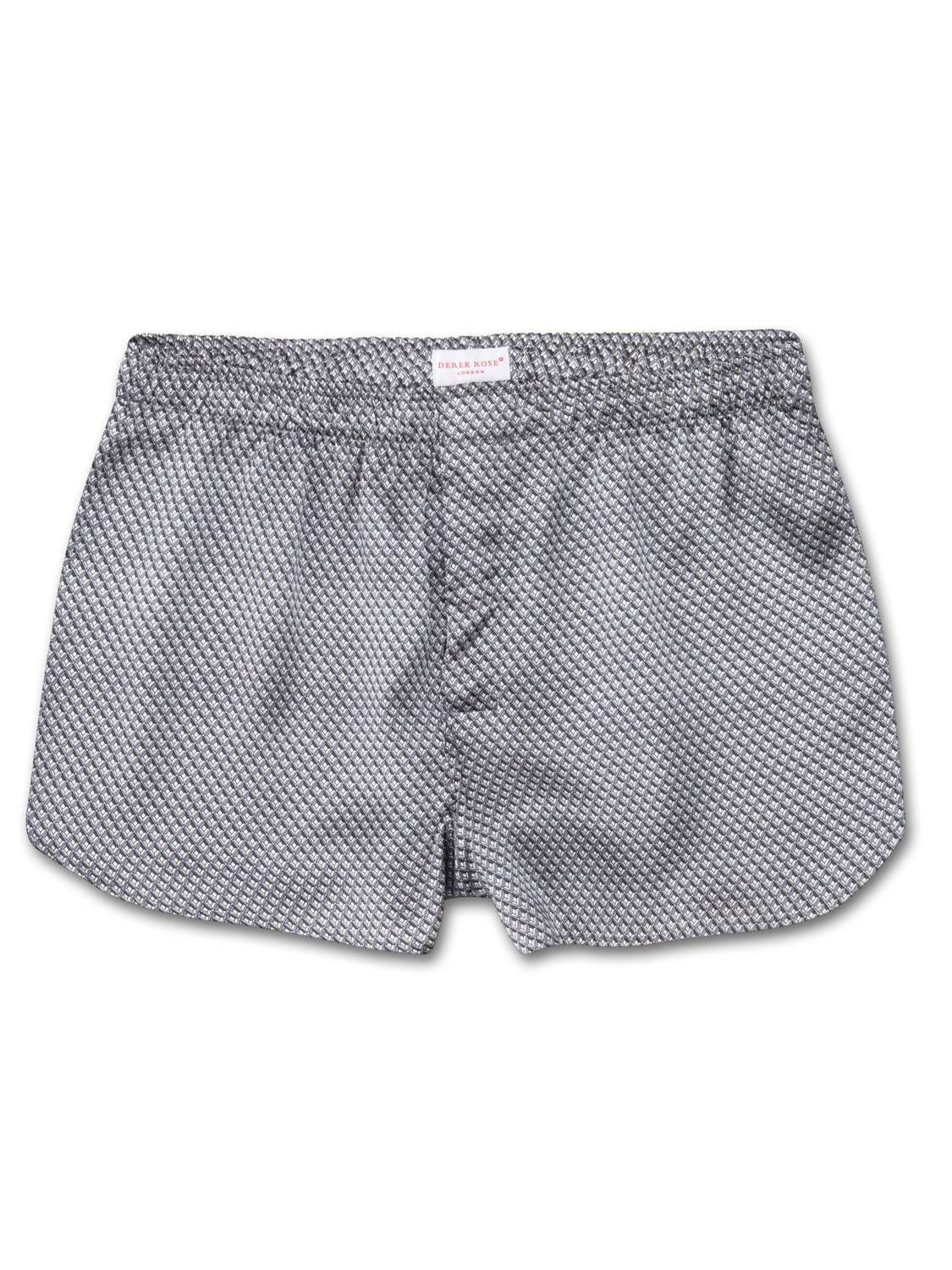 Men's Modern Fit Boxer Shorts Brindisi 13 Pure Silk Satin Silver