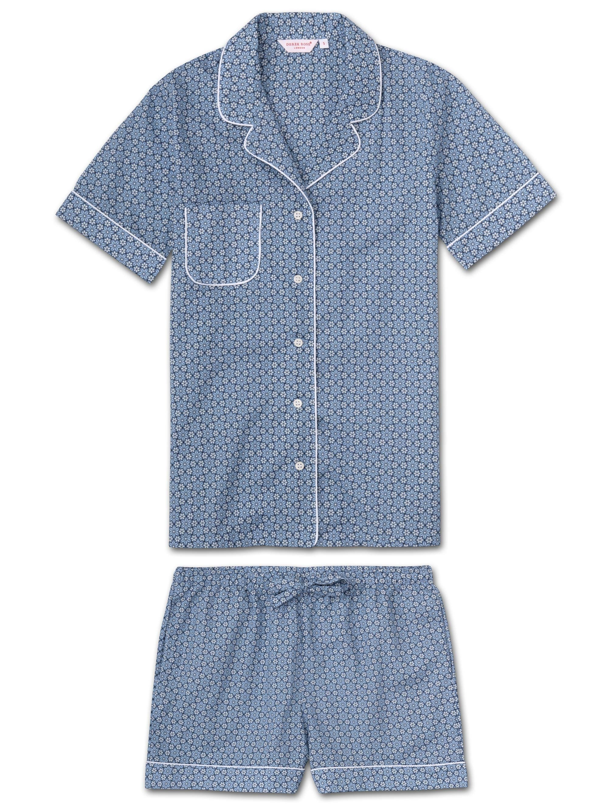 Women's Shortie Pyjamas Ledbury 37 Cotton Batiste Blue