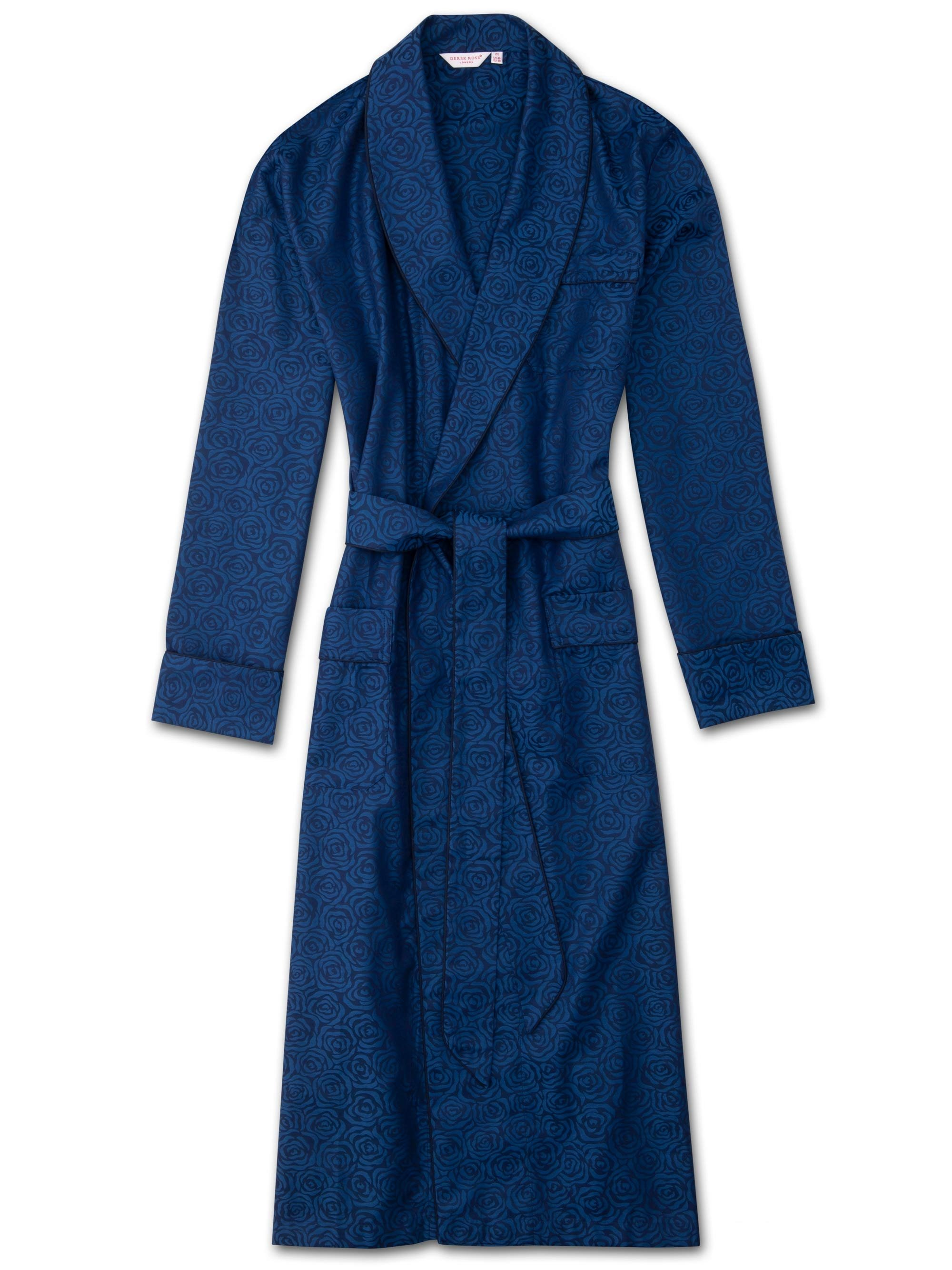 Men's Piped Dressing Gown Paris 17 Cotton Jacquard Navy