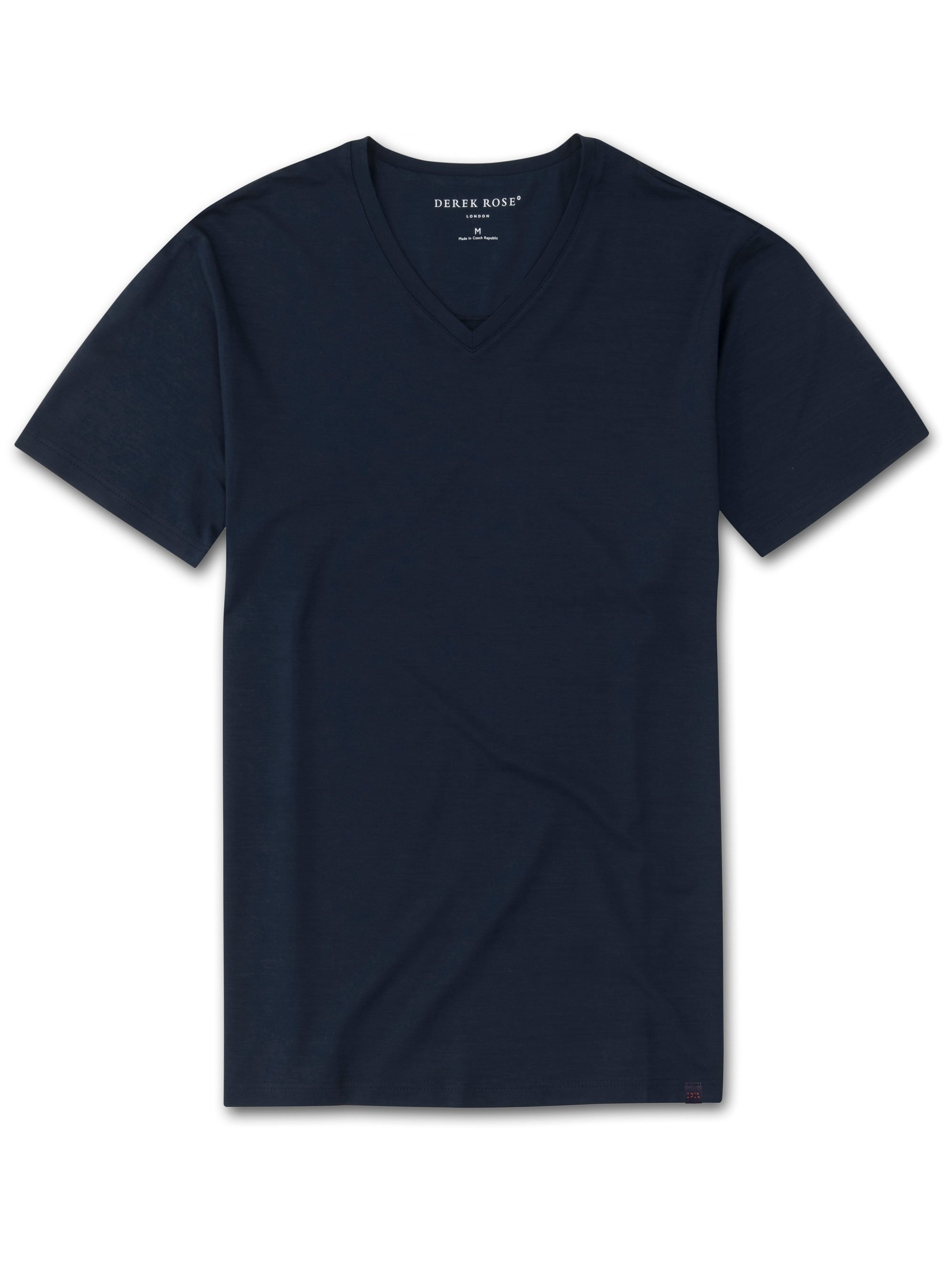 Men's Short Sleeve V-Neck T-Shirt Basel Micro Modal Stretch Navy