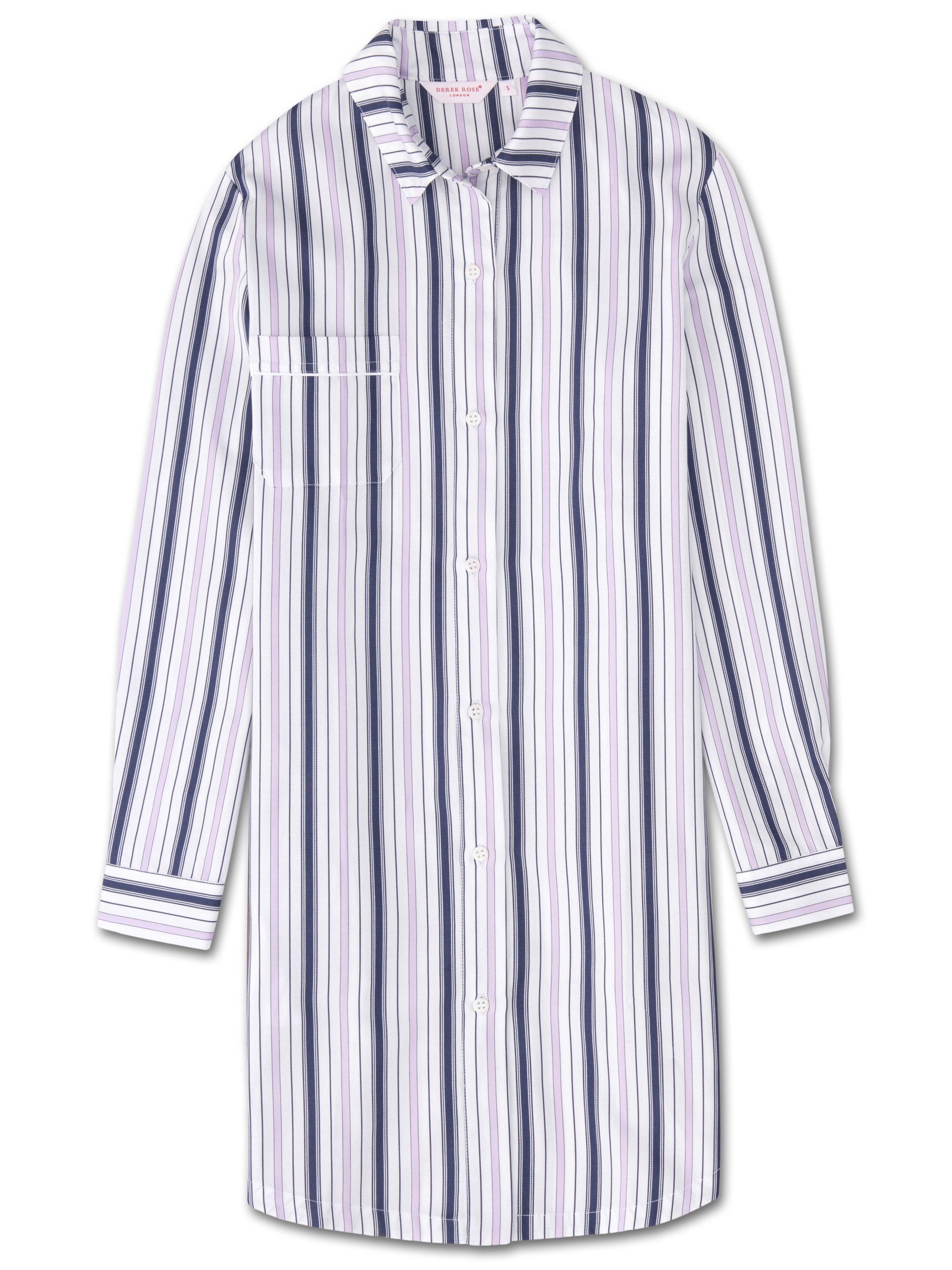Women's Nightshirt Milly 7 Cotton Full Satin Stripe White