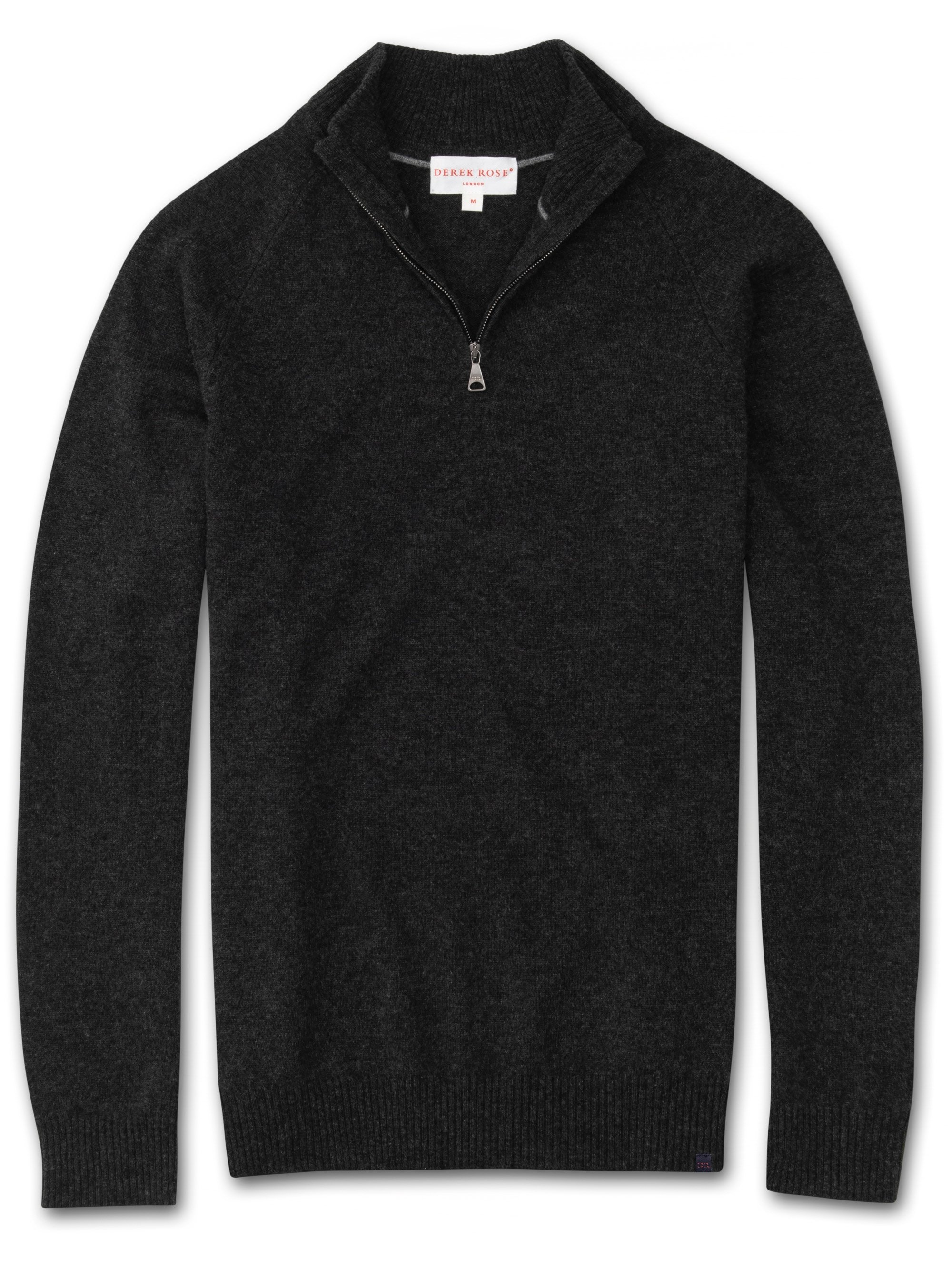 Men's Cashmere Half-Zip Sweater Finley 2 Pure Cashmere Charcoal