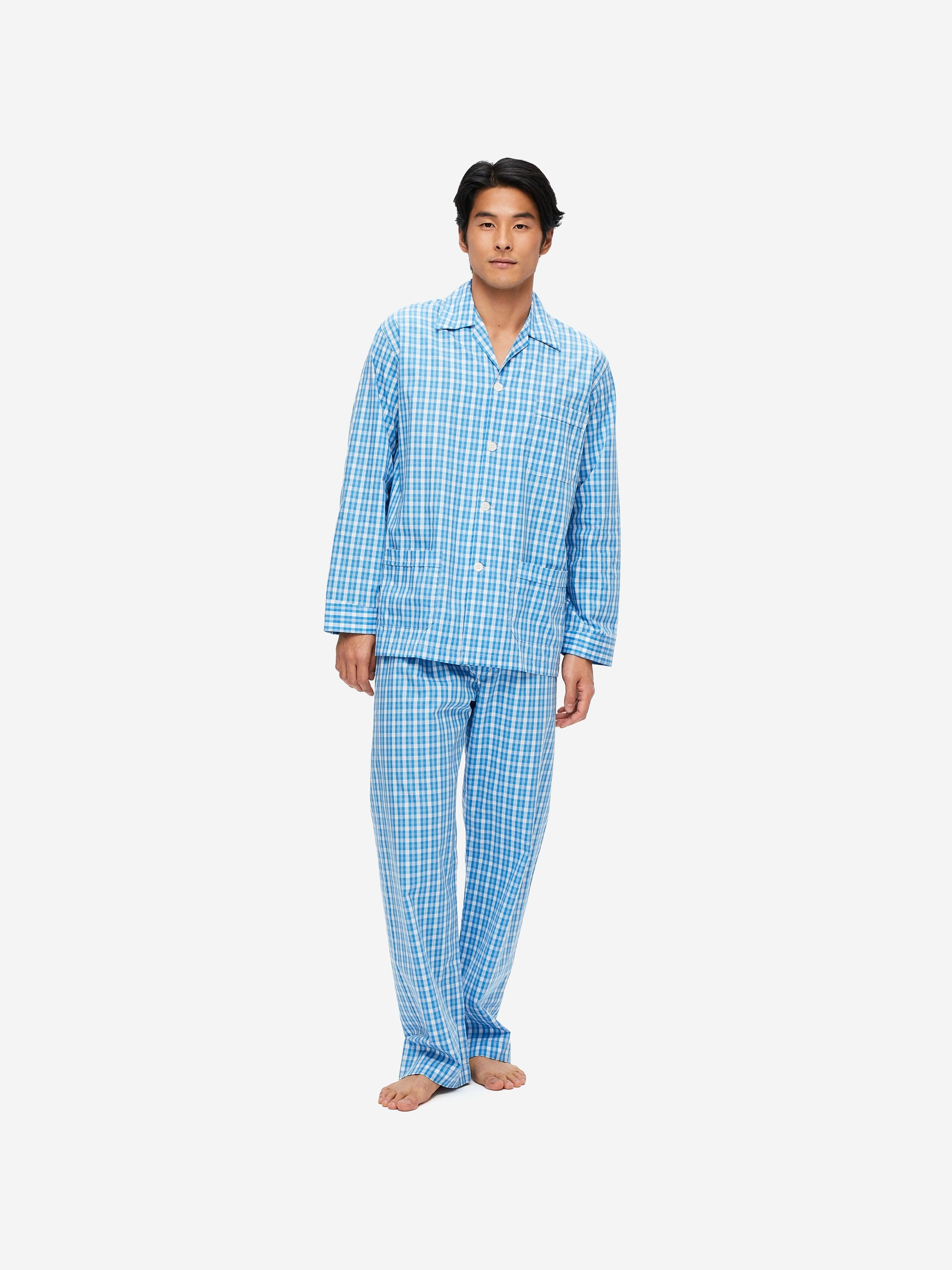 Men's Classic Fit Pyjamas Barker 29 Cotton Check Blue