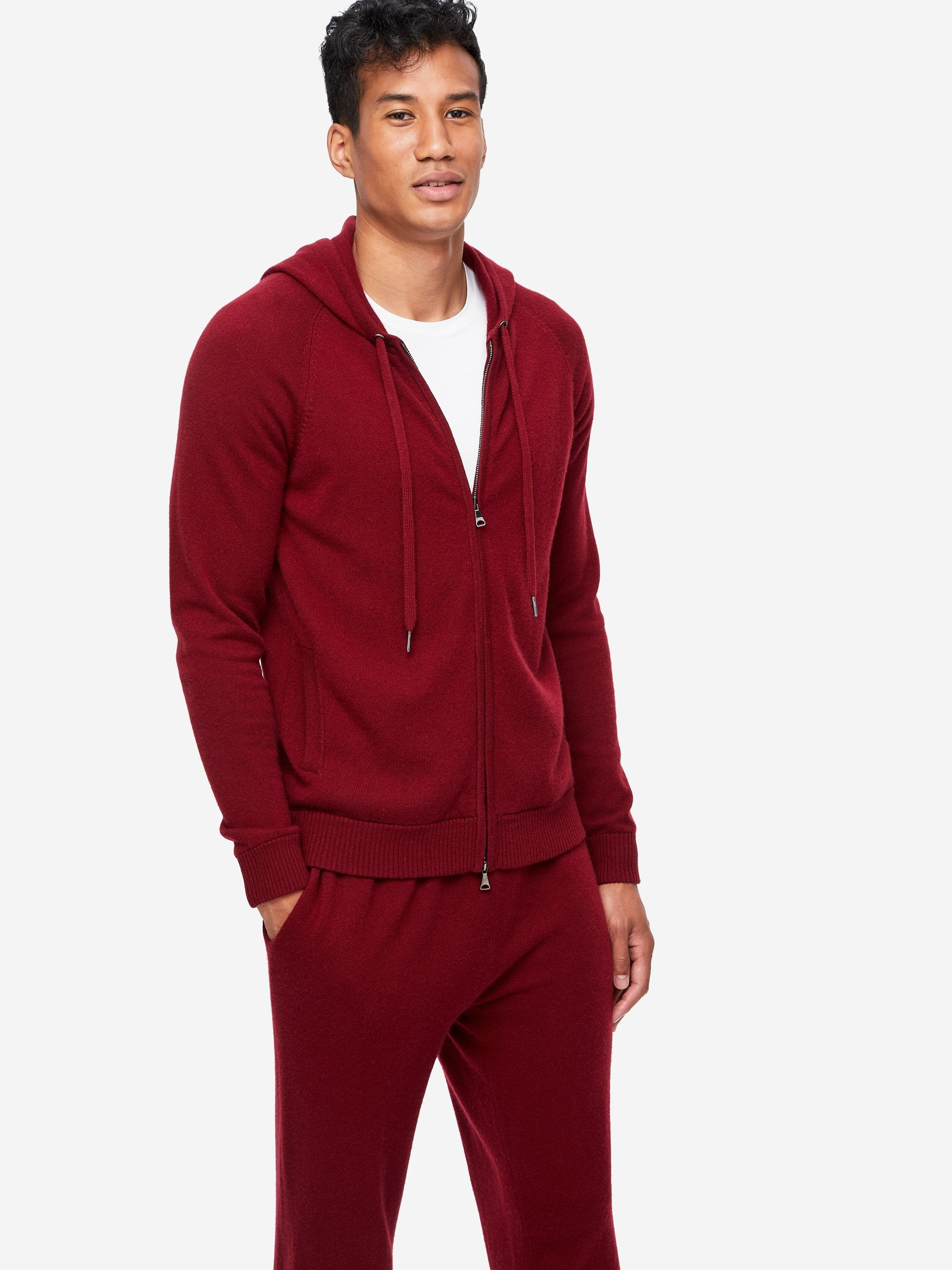 Men's Cashmere Hoodie Finley 3 Pure Cashmere Burgundy
