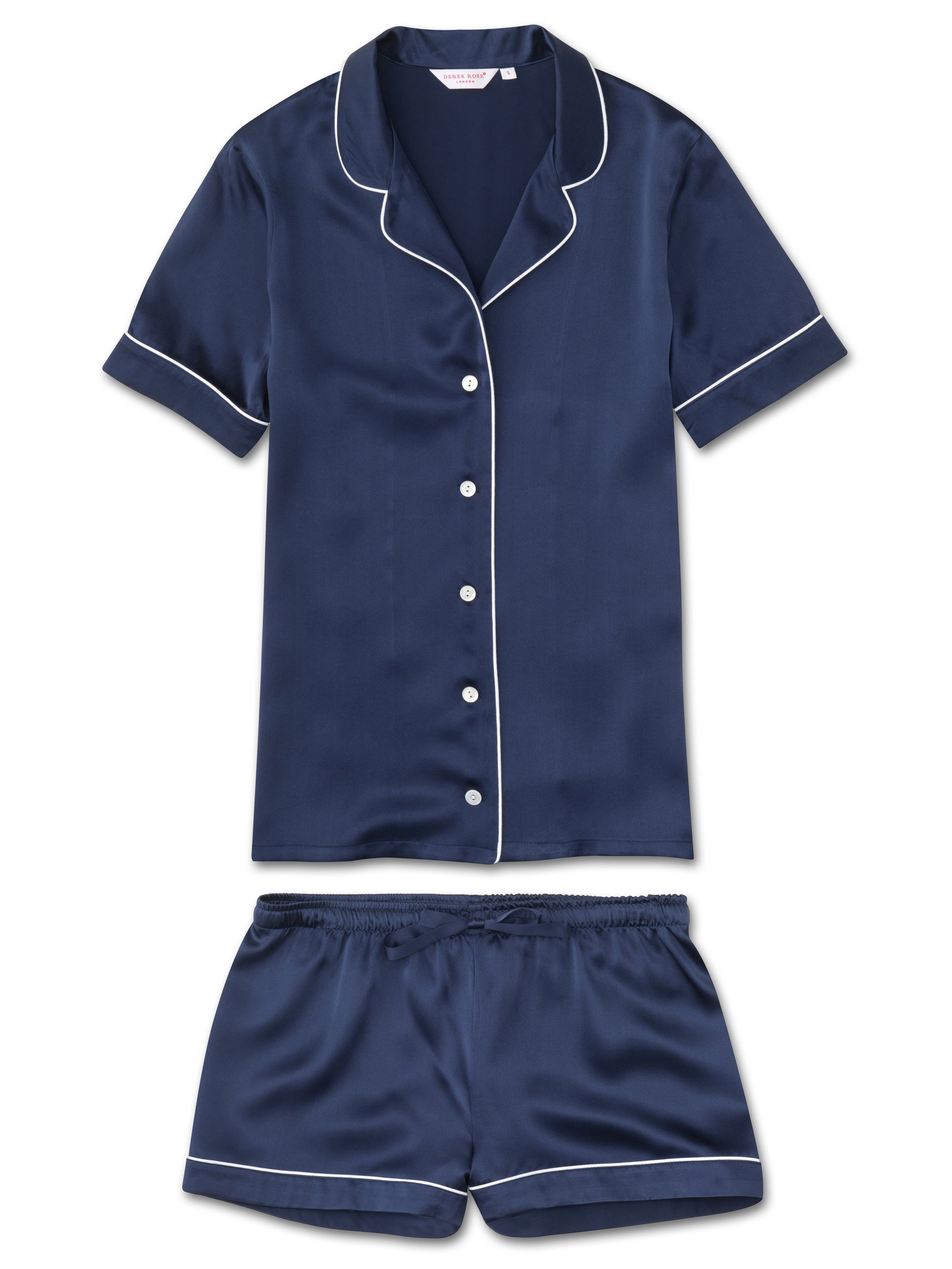 Women's Shortie Pyjamas Bailey Pure Silk Satin Navy