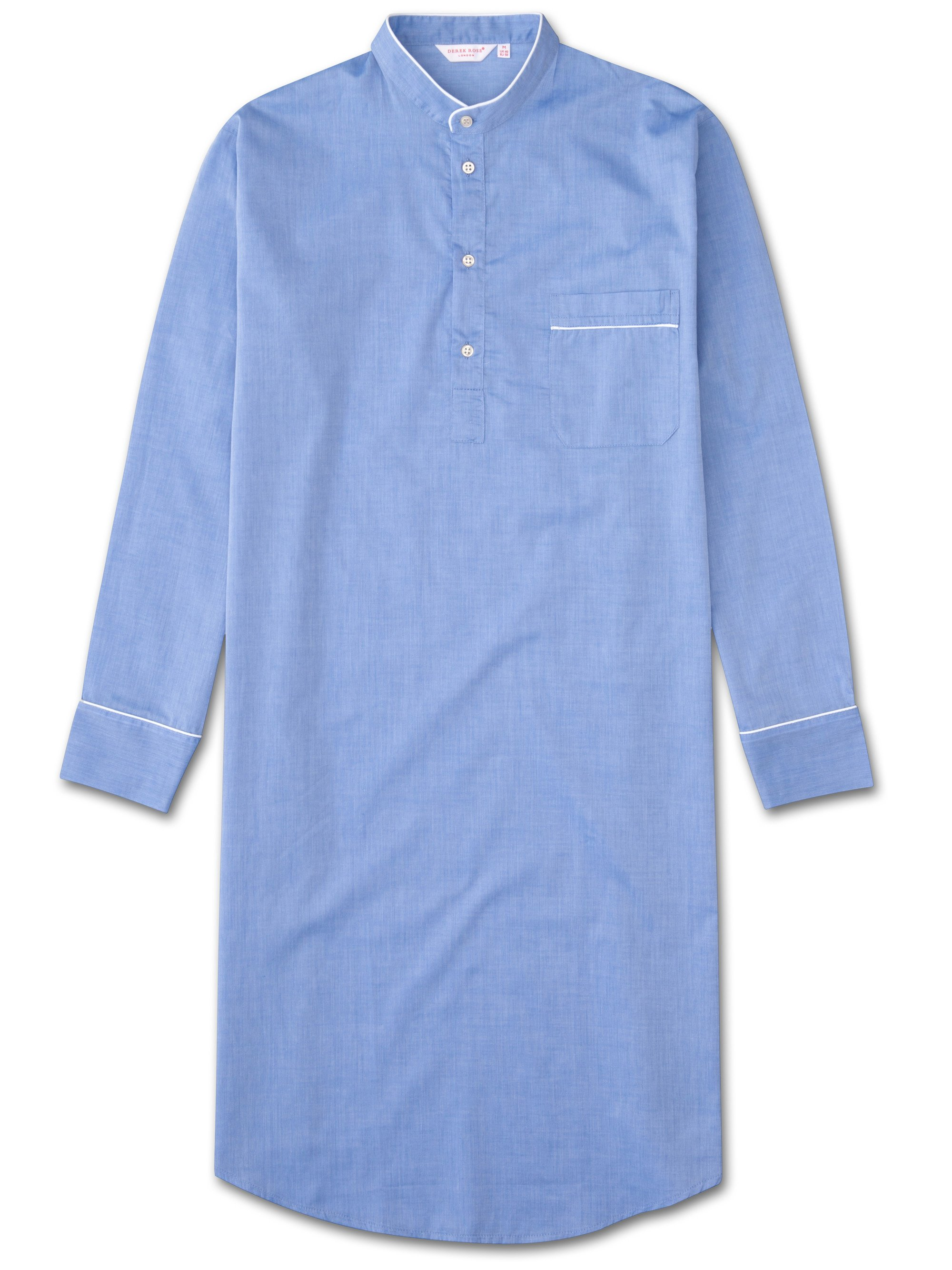 Men's Pullover Nightshirt Amalfi Cotton Batiste Blue