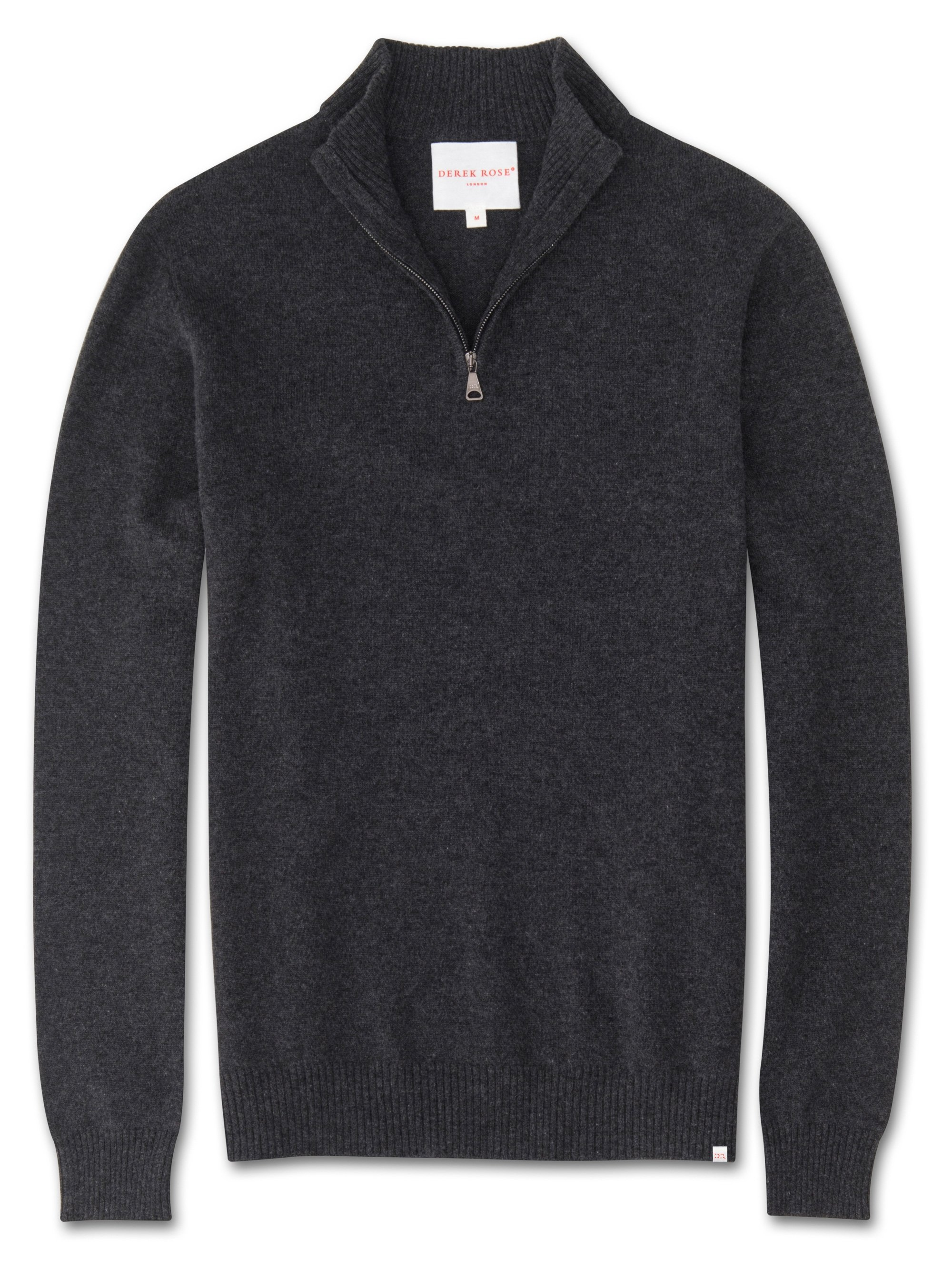 Men's Cashmere Half-Zip Sweater Finley Pure Cashmere Charcoal