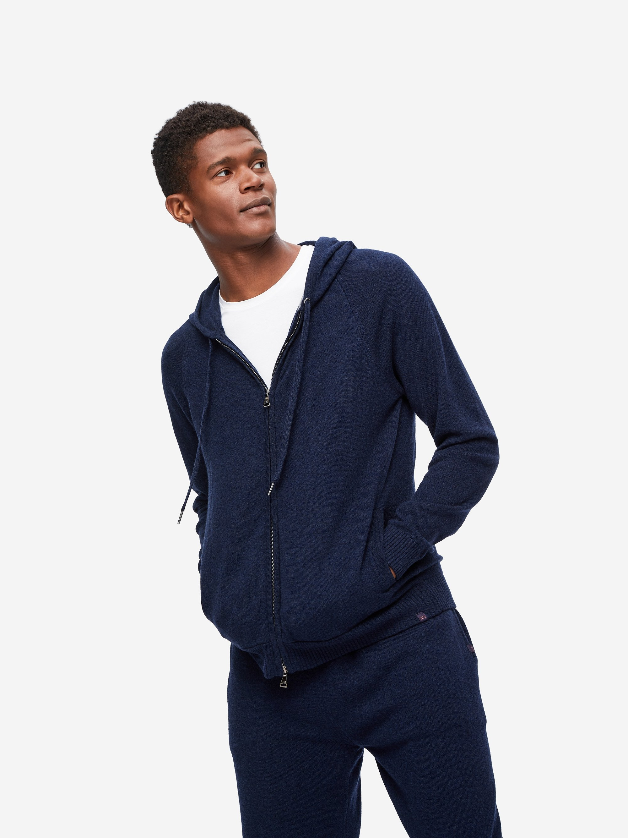 Men's Cashmere Hoodie Finley 2 Pure Cashmere Navy