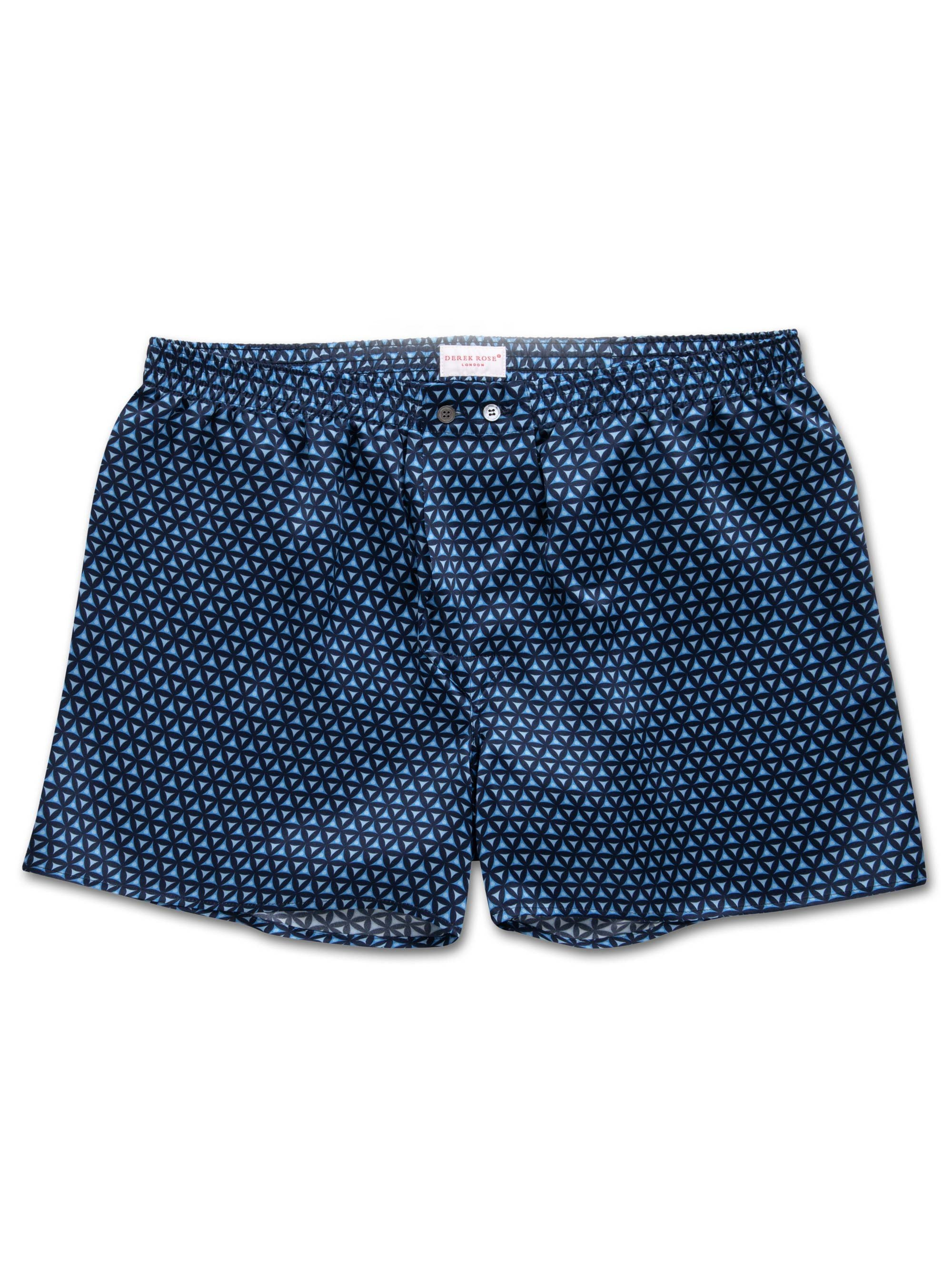 Men's Classic Fit Boxer Shorts Brindisi 46 Pure Silk Satin Blue