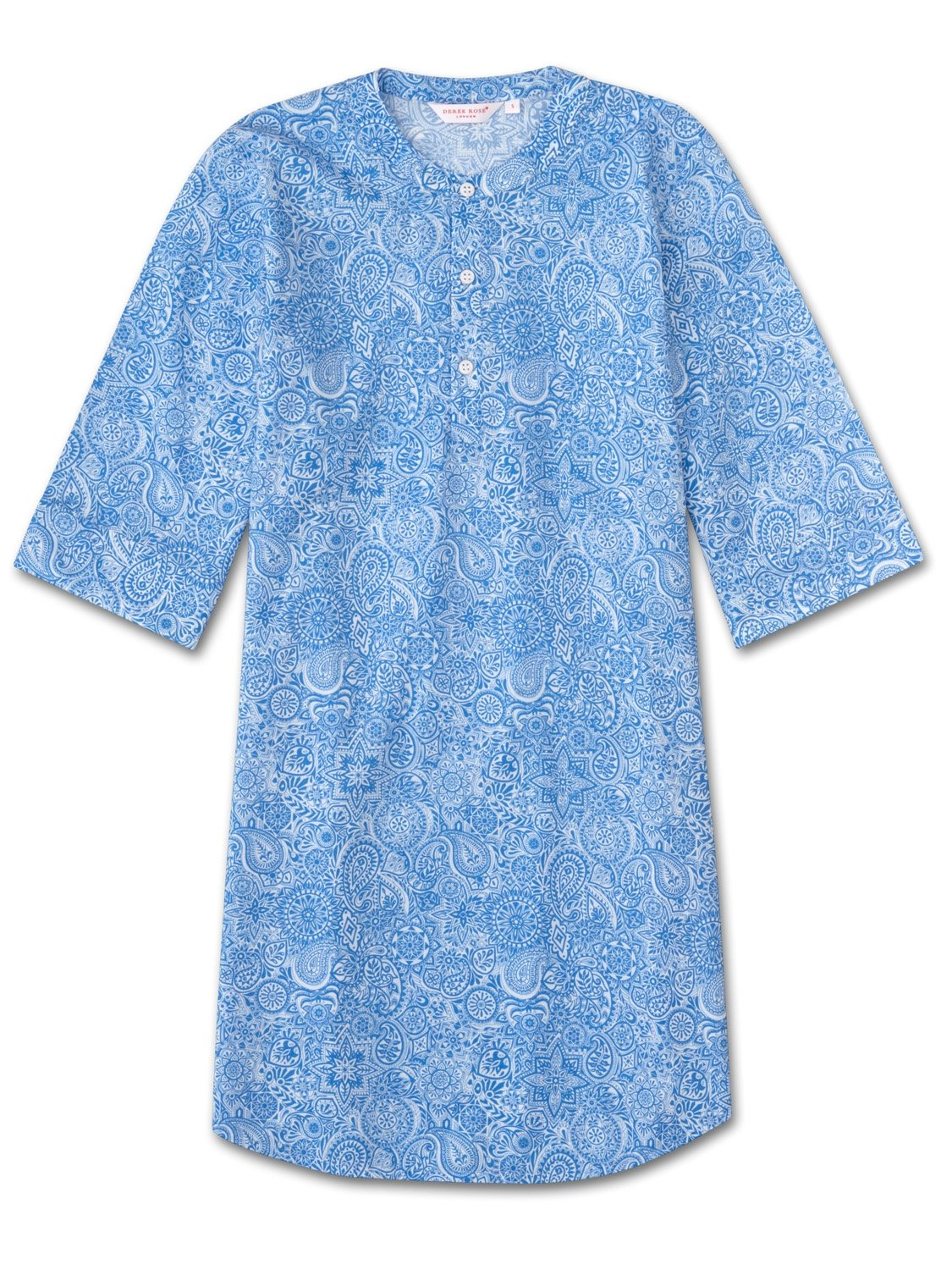 Women's Kaftan Nightshirt Ledbury 6 Cotton Batiste Blue