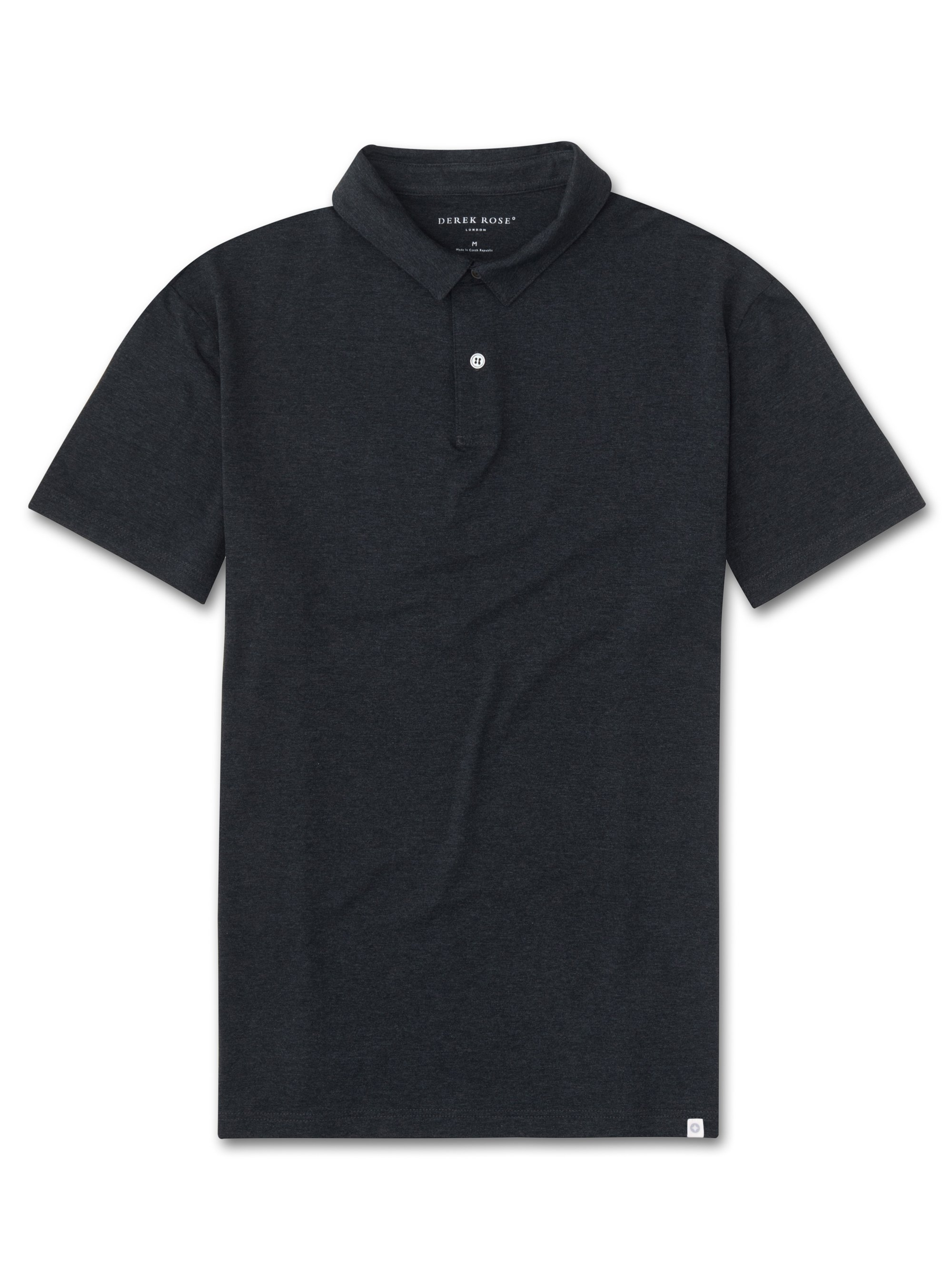 Men's Short Sleeve Polo Shirt Marlowe Micro Modal Stretch Anthracite