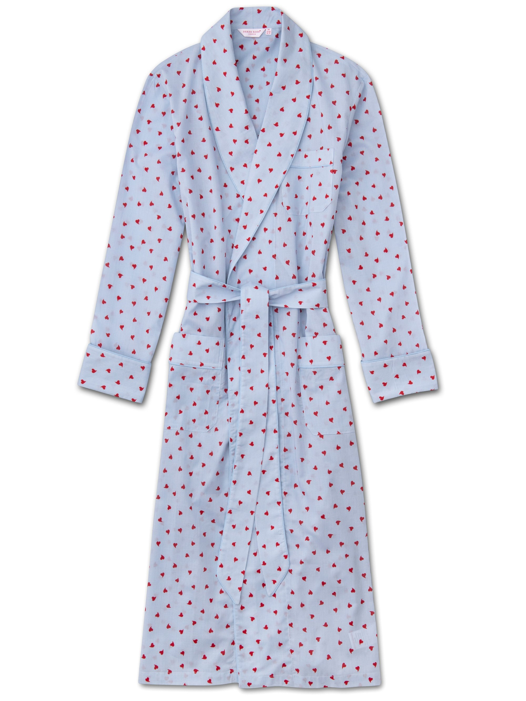 Men's Piped Dressing Gown Nelson 75 Cotton Batiste Blue