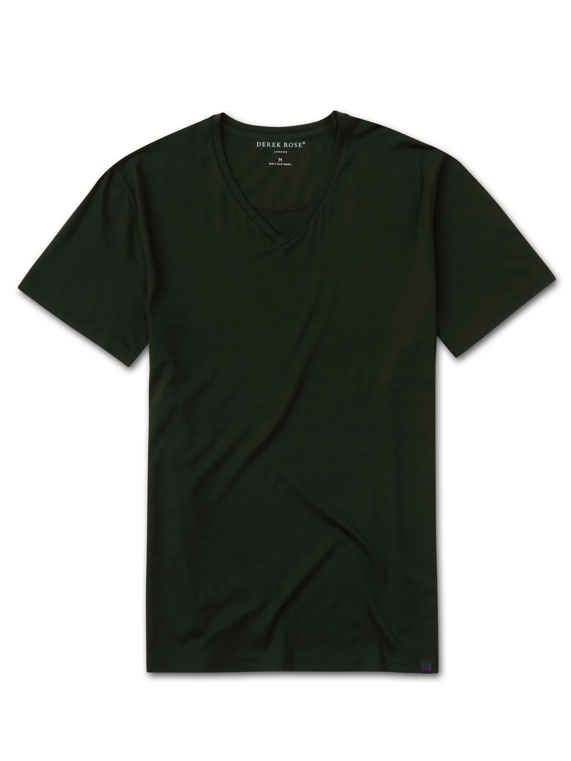 Men's Short Sleeve V-Neck T-Shirt Basel 9 Micro Modal Stretch Green