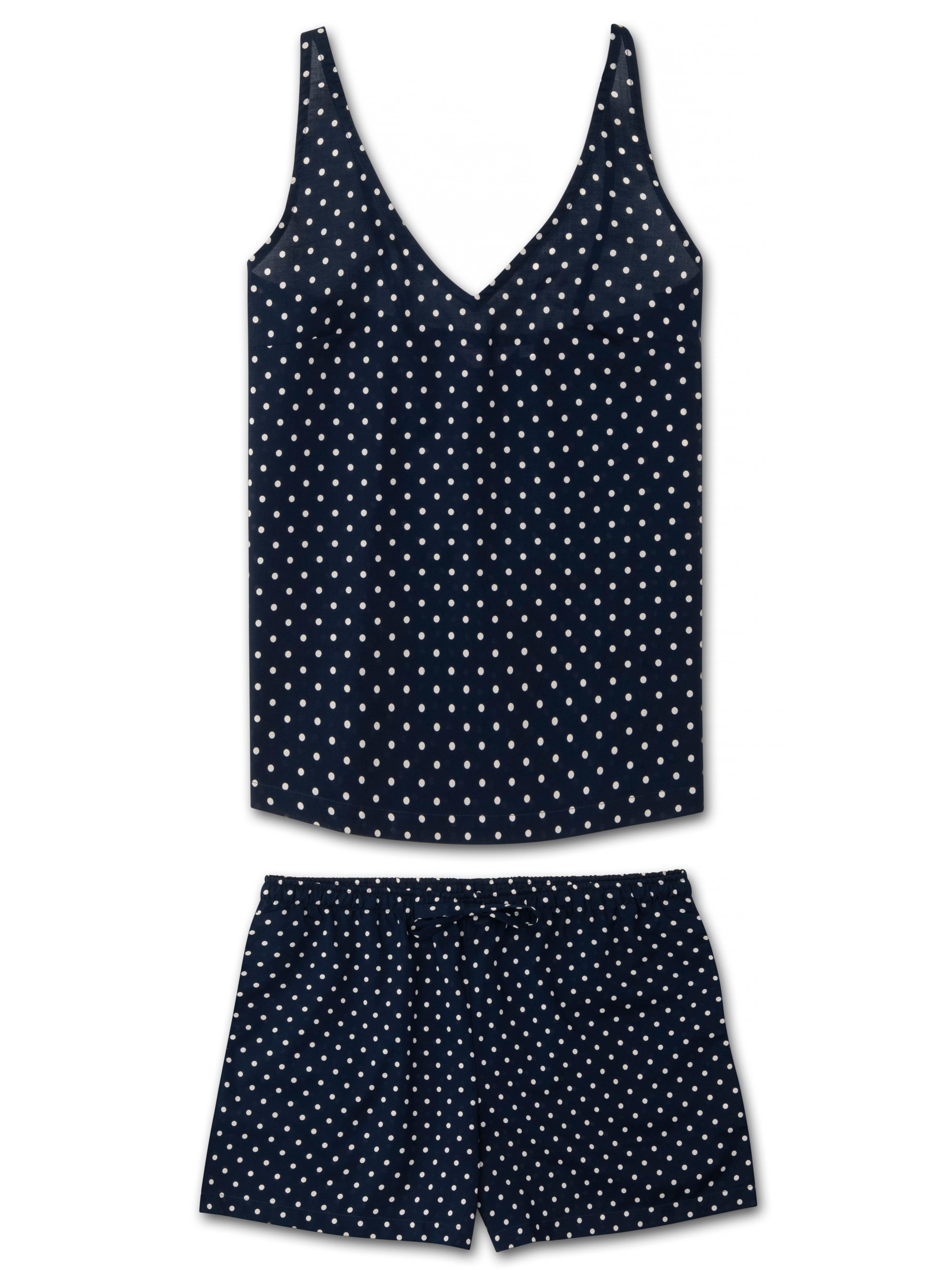 Women's Cami Short Pyjama Set Plaza 60 Cotton Batiste Navy