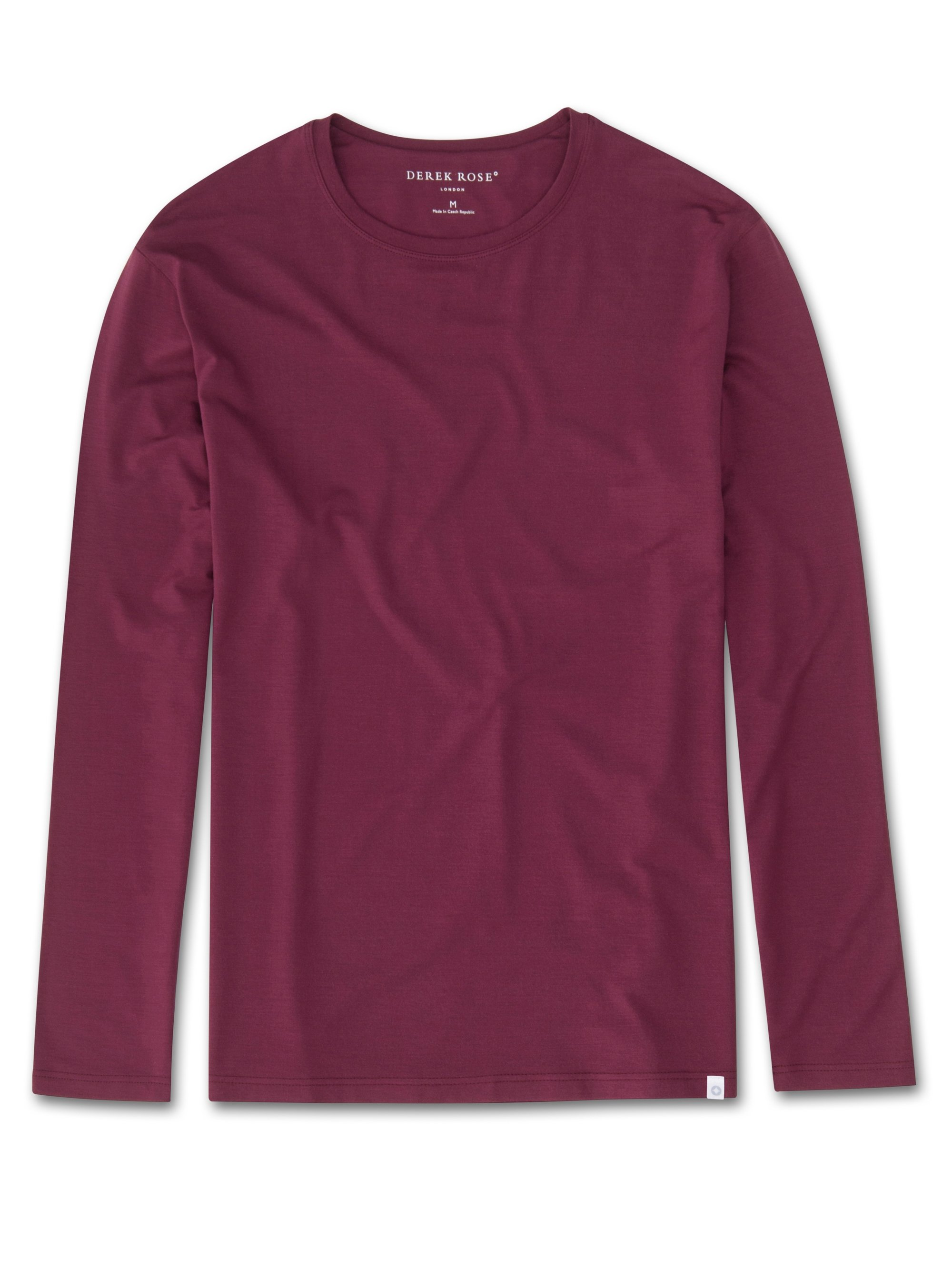 Men's Long Sleeve T-Shirt Basel 5 Micro Modal Stretch Burgundy