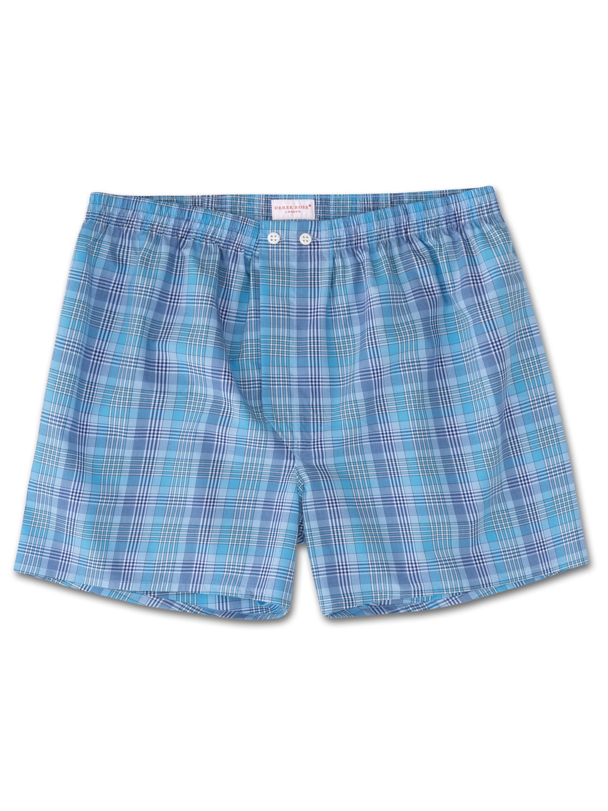 Men's Classic Fit Boxer Shorts Barker 20 Cotton Check Blue
