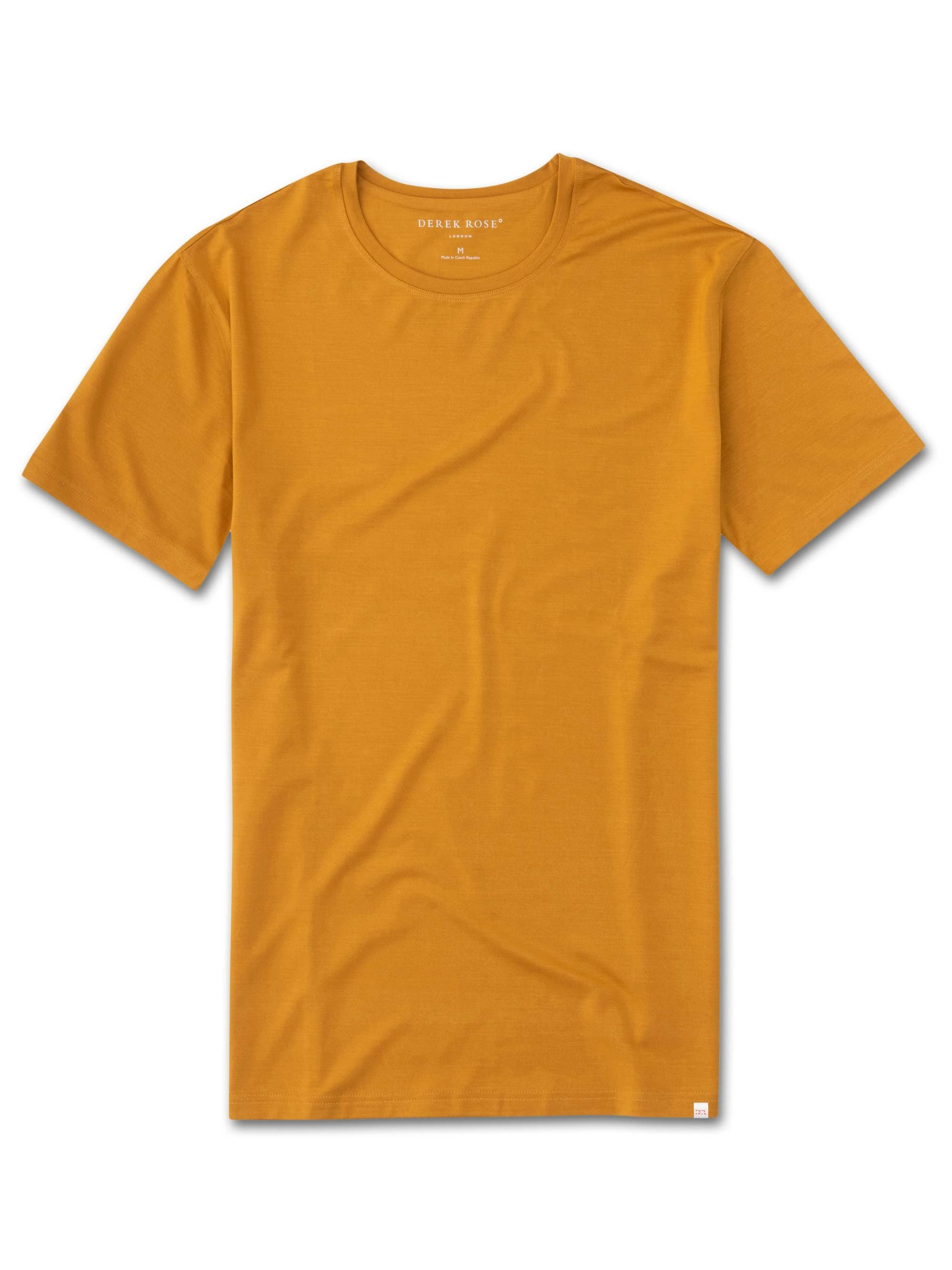 Men's Short Sleeve T-Shirt Basel 7 Micro Modal Stretch Mustard