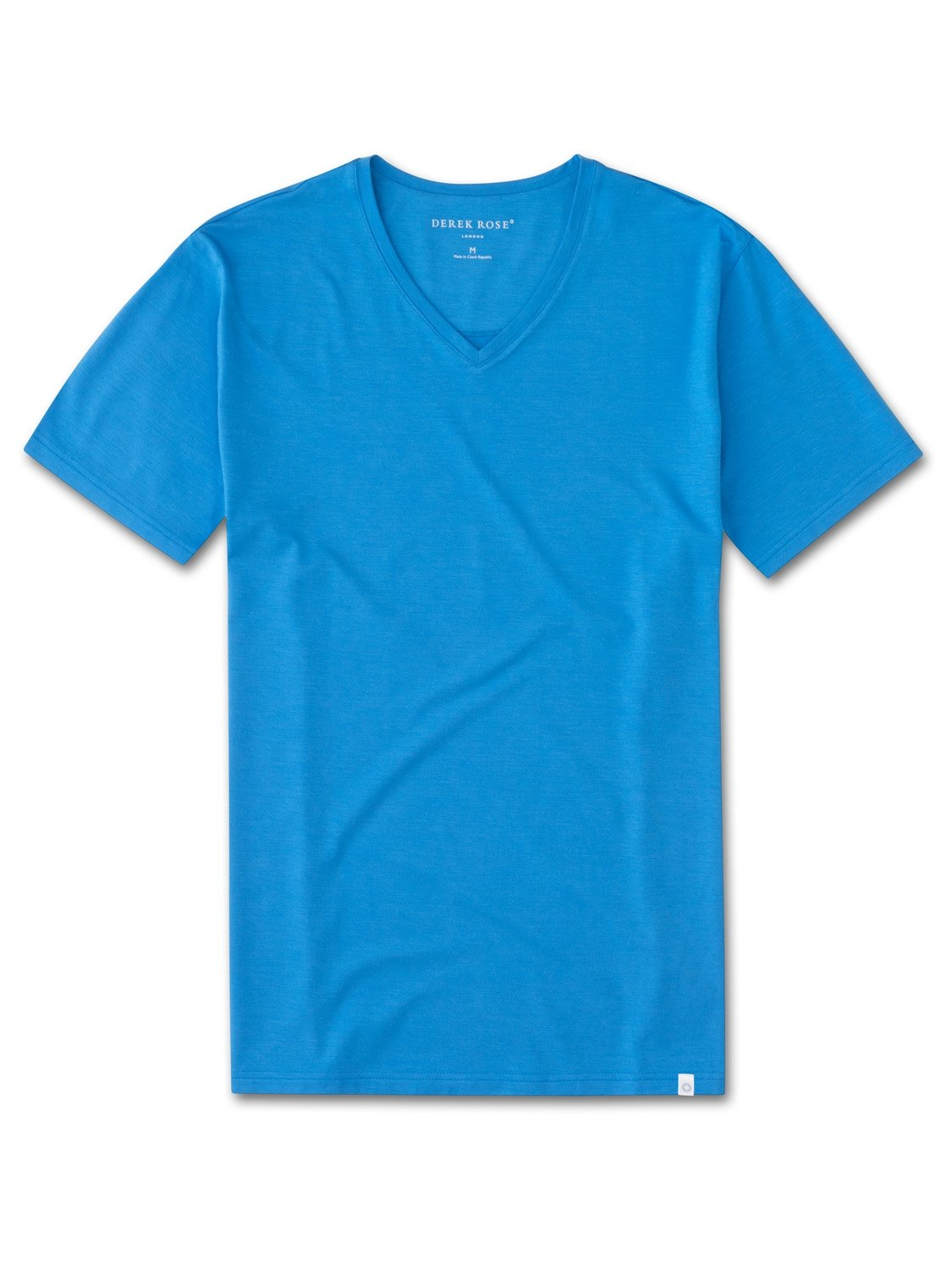 Men's Short Sleeve V-Neck T-Shirt Basel 4 Micro Modal Stretch Blue