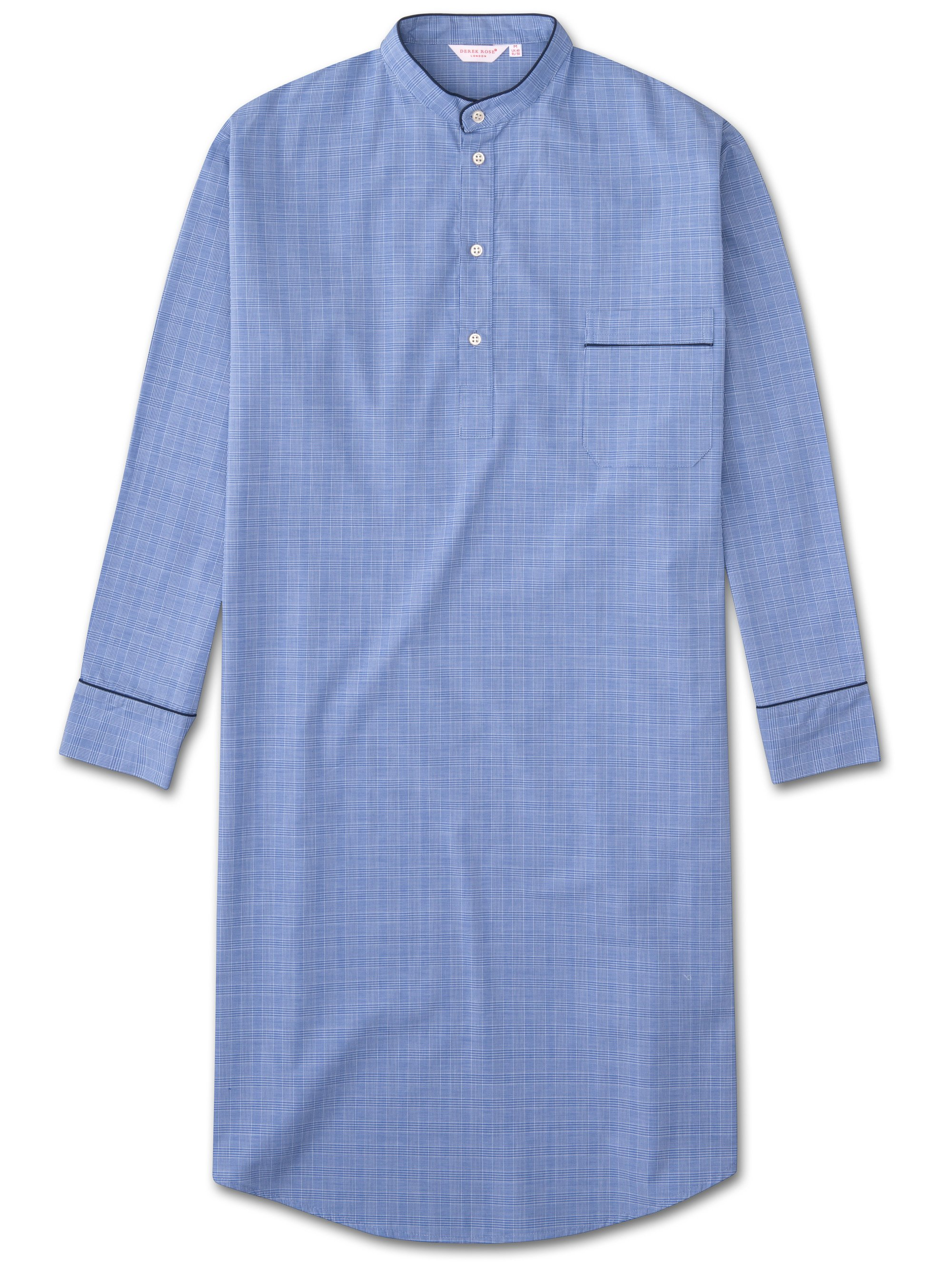 Men's Pullover Nightshirt Felsted 3 Cotton Check Blue