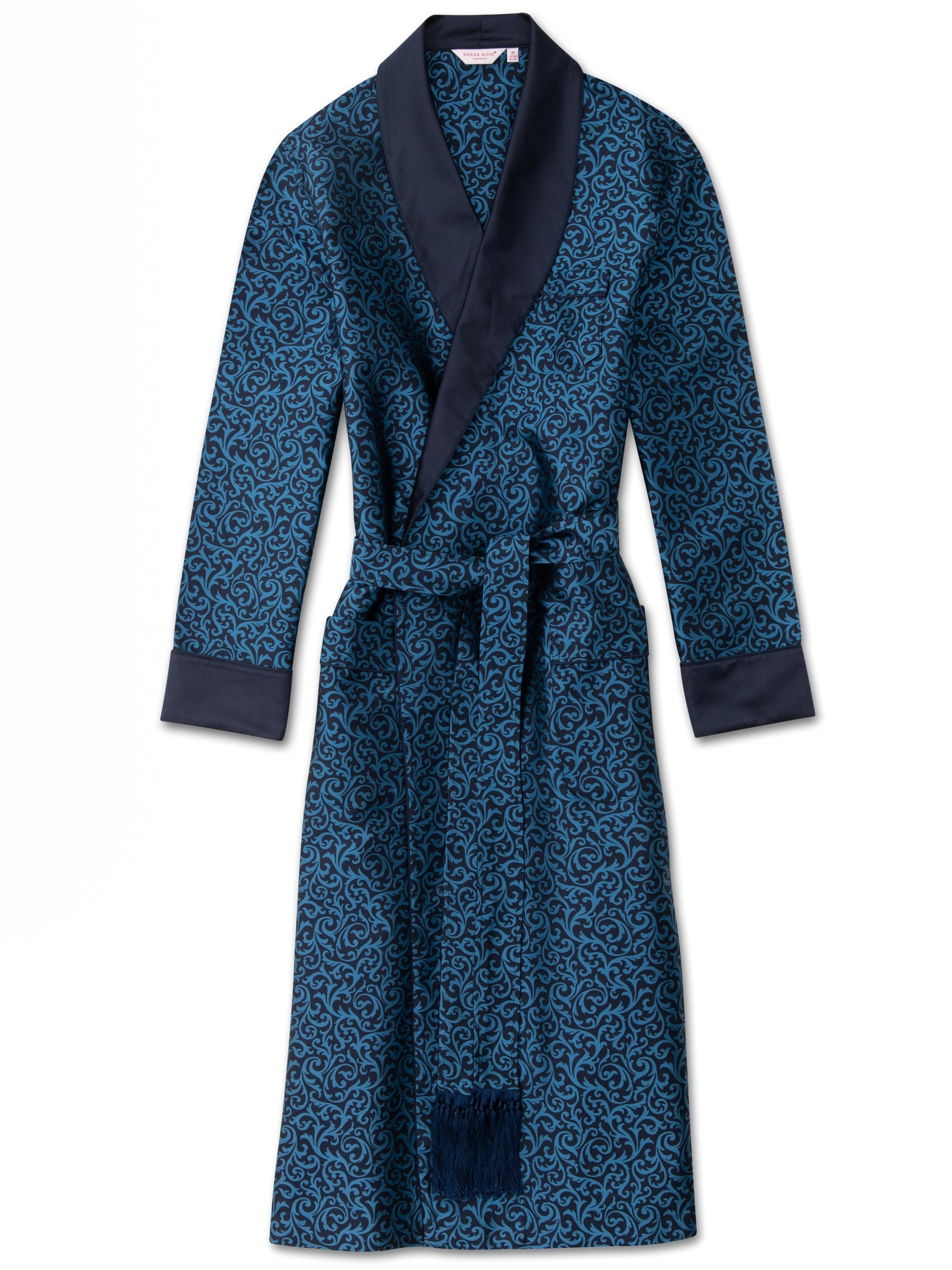 Men's Tasseled Belt Dressing Gown Verona 46 Pure Silk Jacquard Ocean
