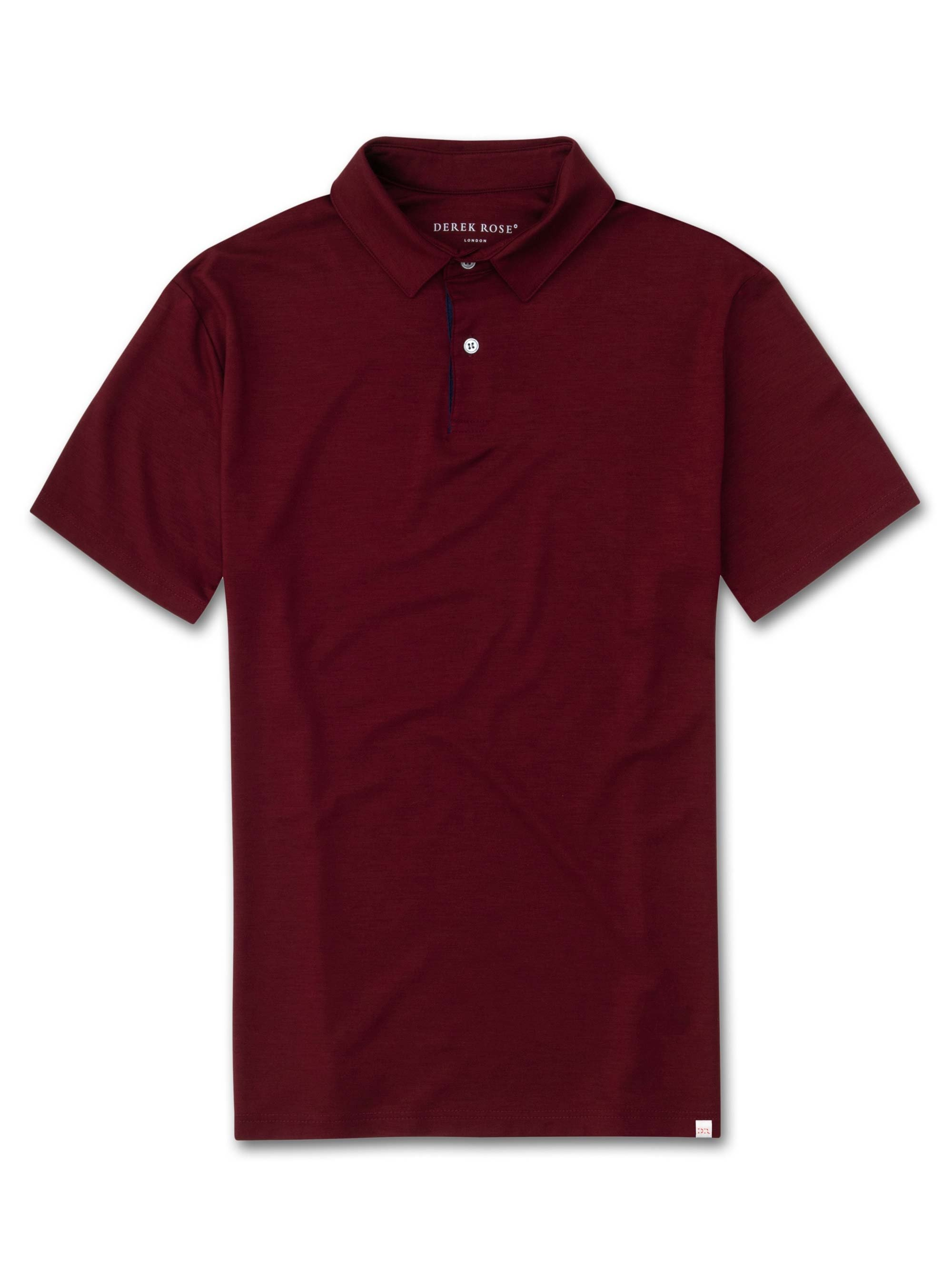 Men's Short Sleeve Polo Shirt Basel 7 Micro Modal Stretch Burgundy