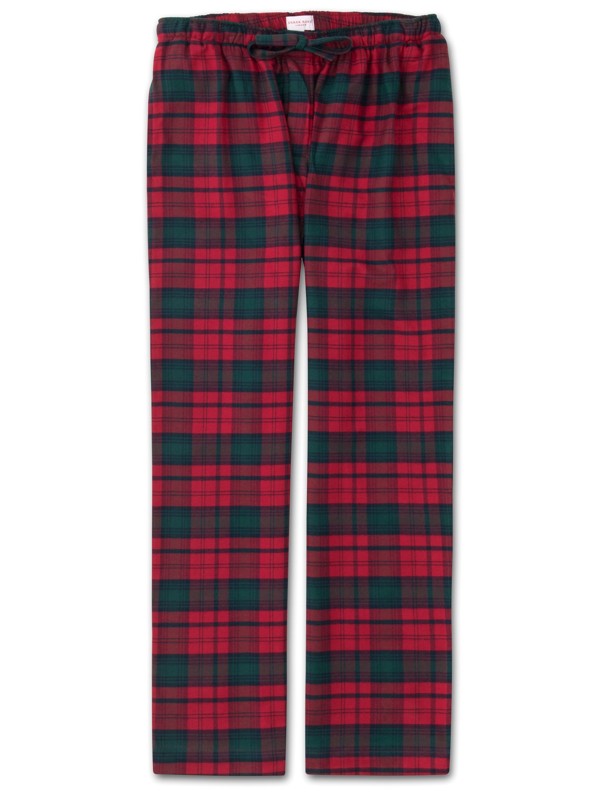 Men's Lounge Trousers Kelburn 9 Brushed Cotton Check Red