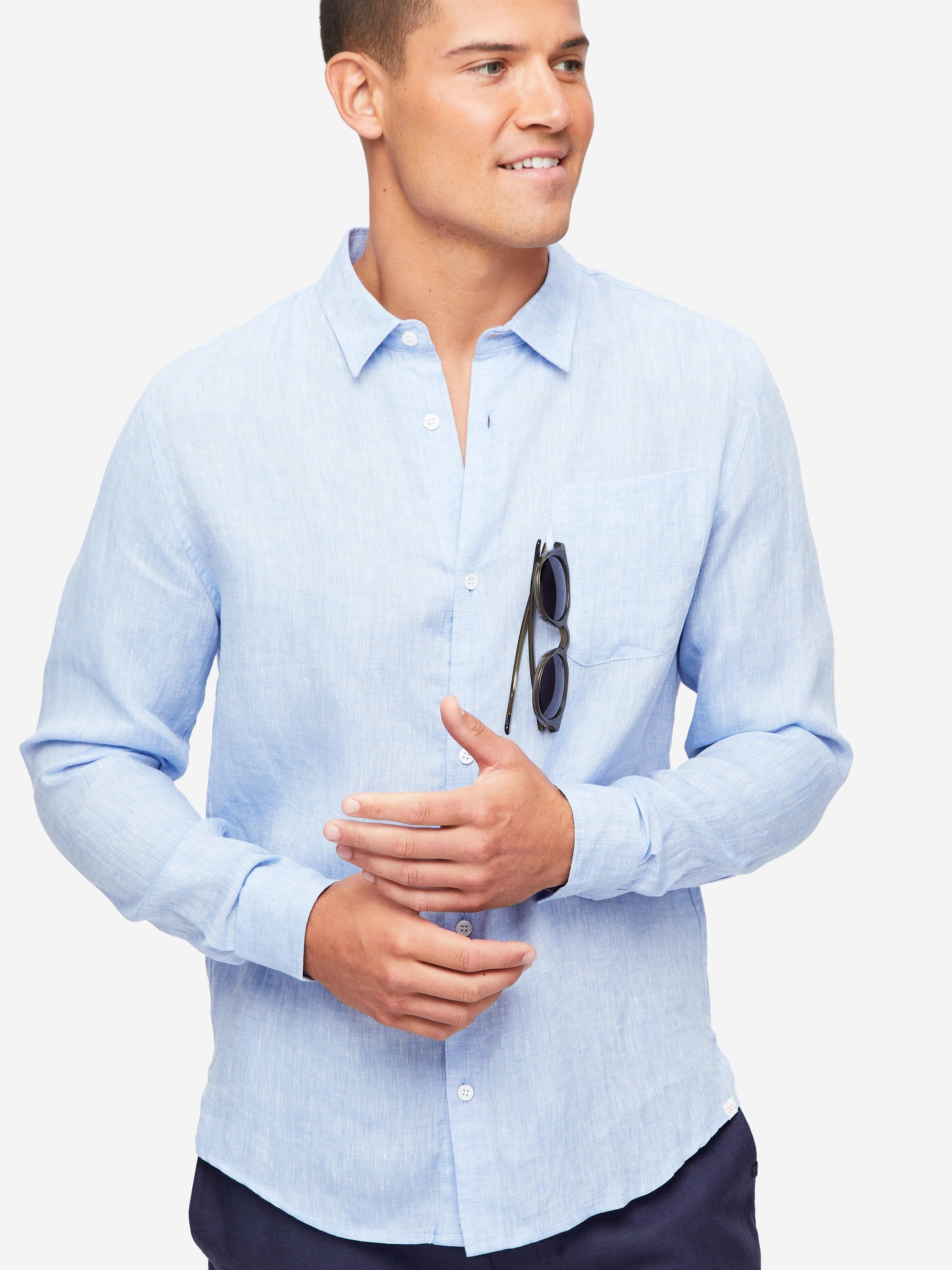 Men's Linen Shirt Monaco Pure Linen Blue
