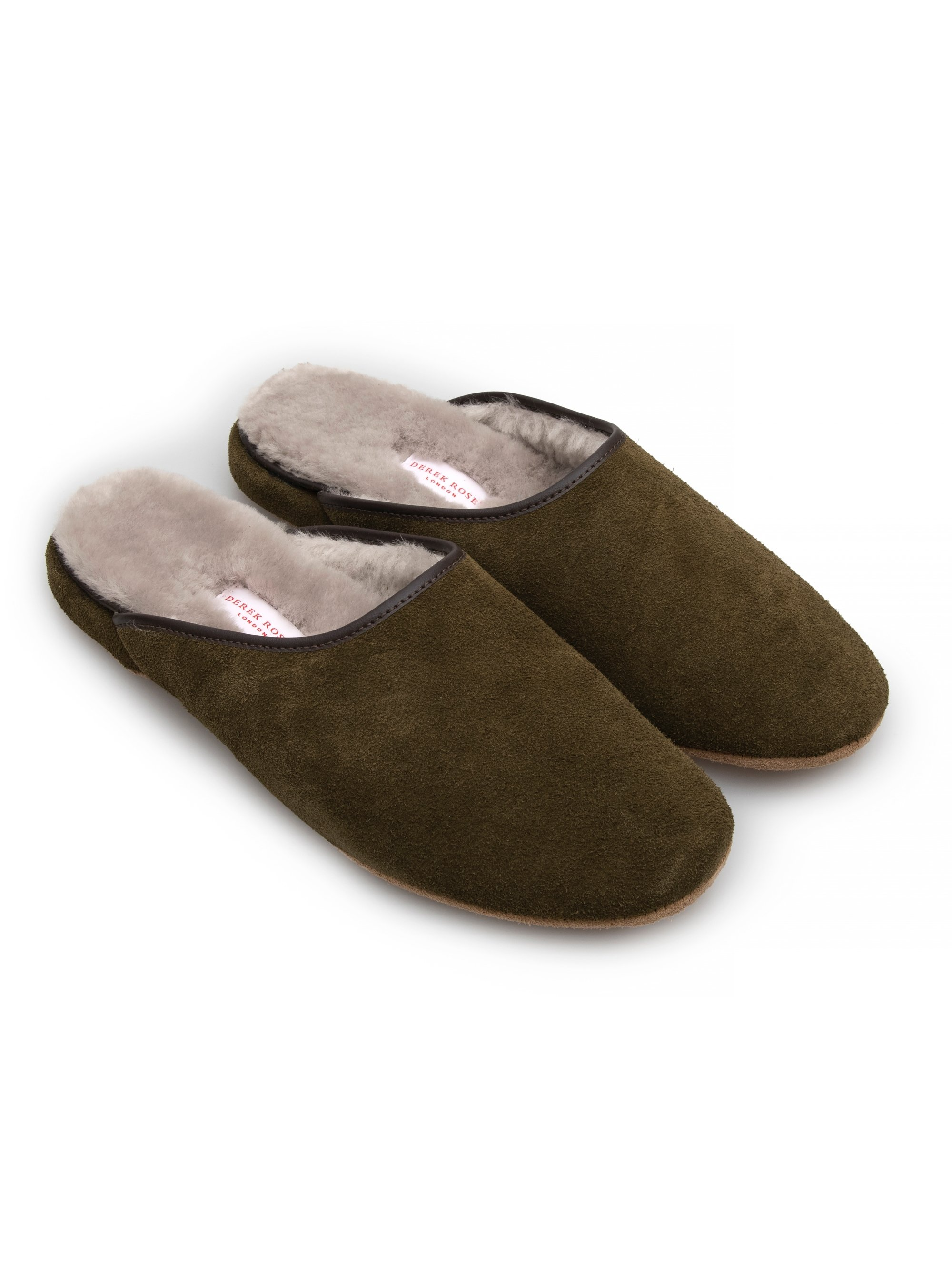Men's Open-Back Slipper Douglas Suede Sheepskin Khaki