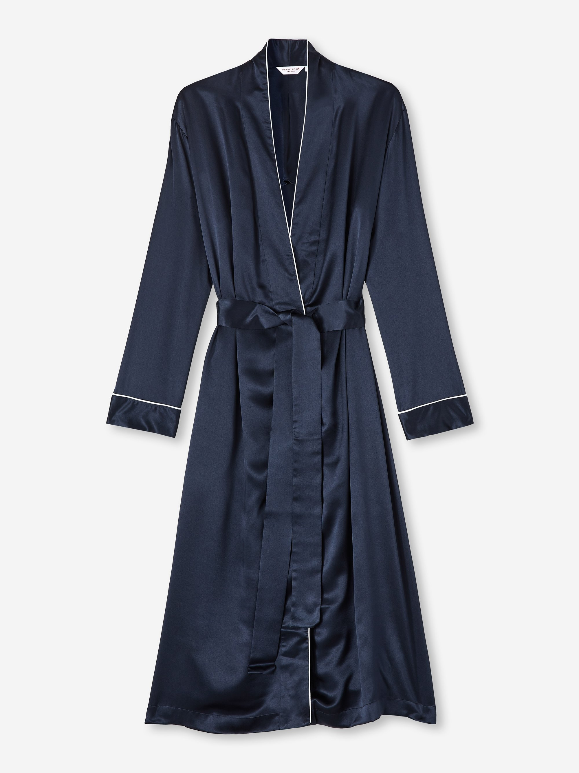 Women's Mid Length Dressing Gown Bailey Pure Silk Satin Navy