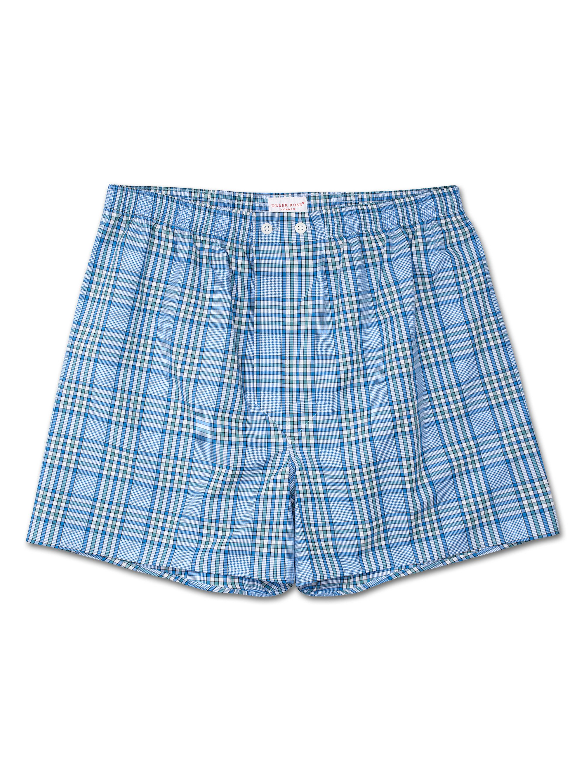 Men's Classic Fit Boxer Shorts Barker 7 Cotton Check Blue