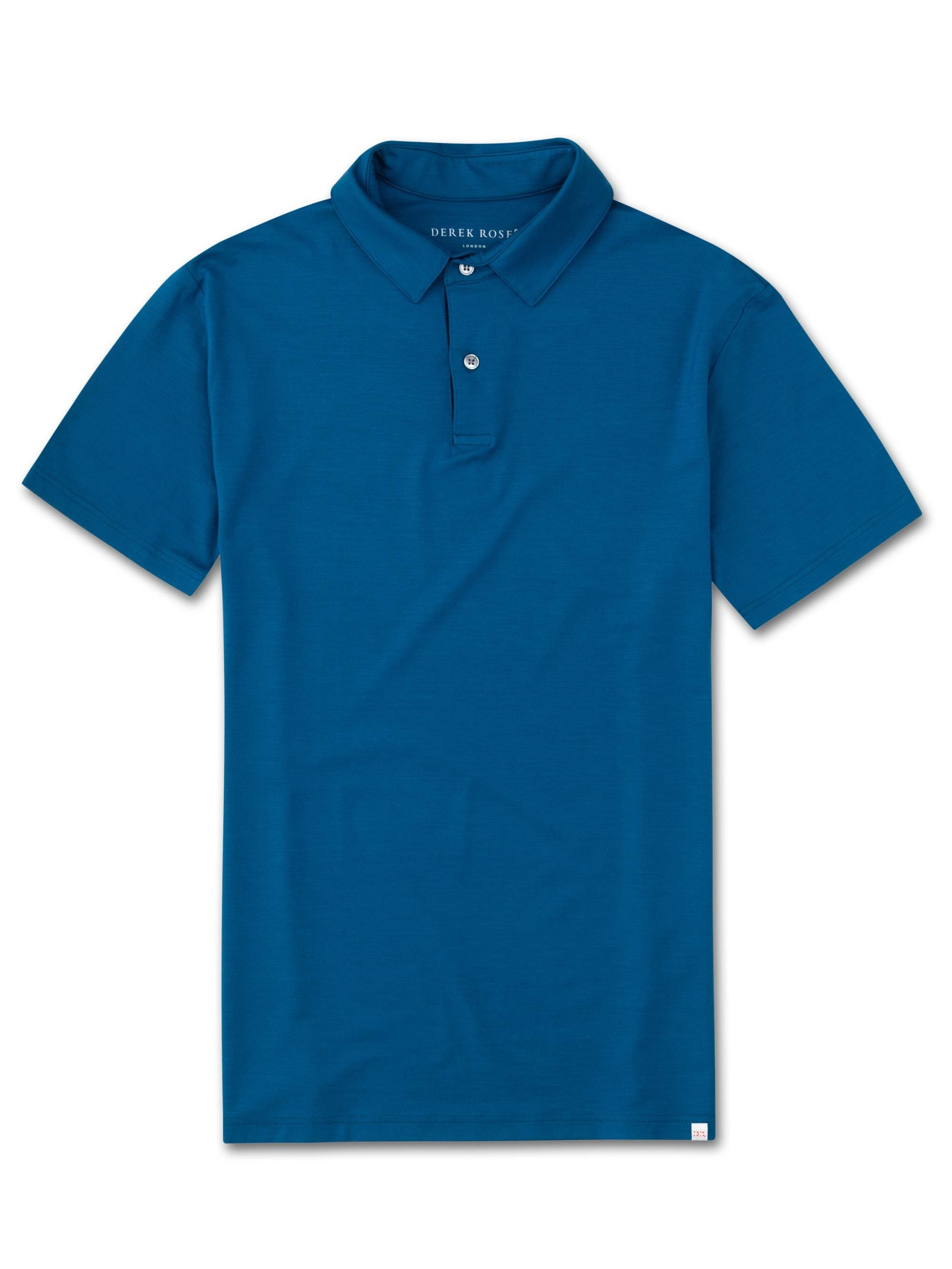 Men's Short Sleeve Polo Shirt Basel 7 Micro Modal Stretch Ocean