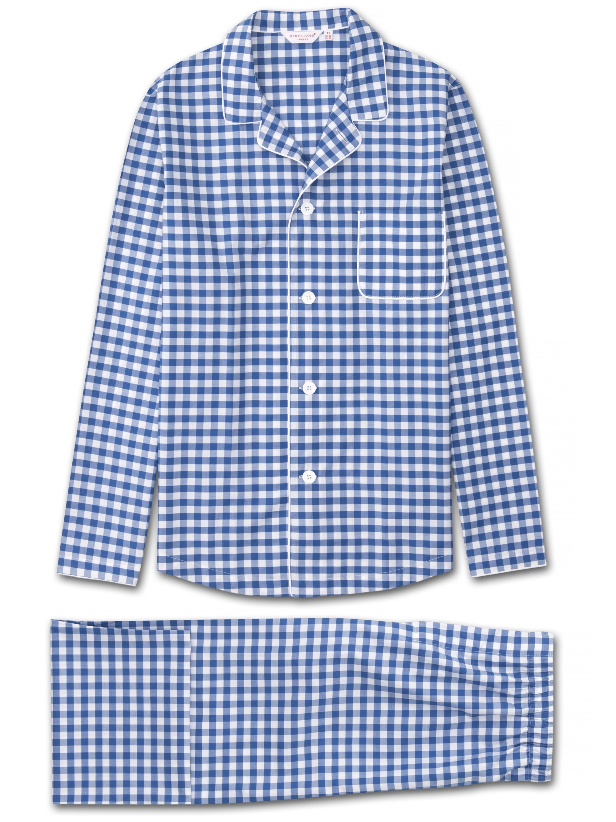 Men's Modern Fit Pyjamas Barker 26 Cotton Check Blue