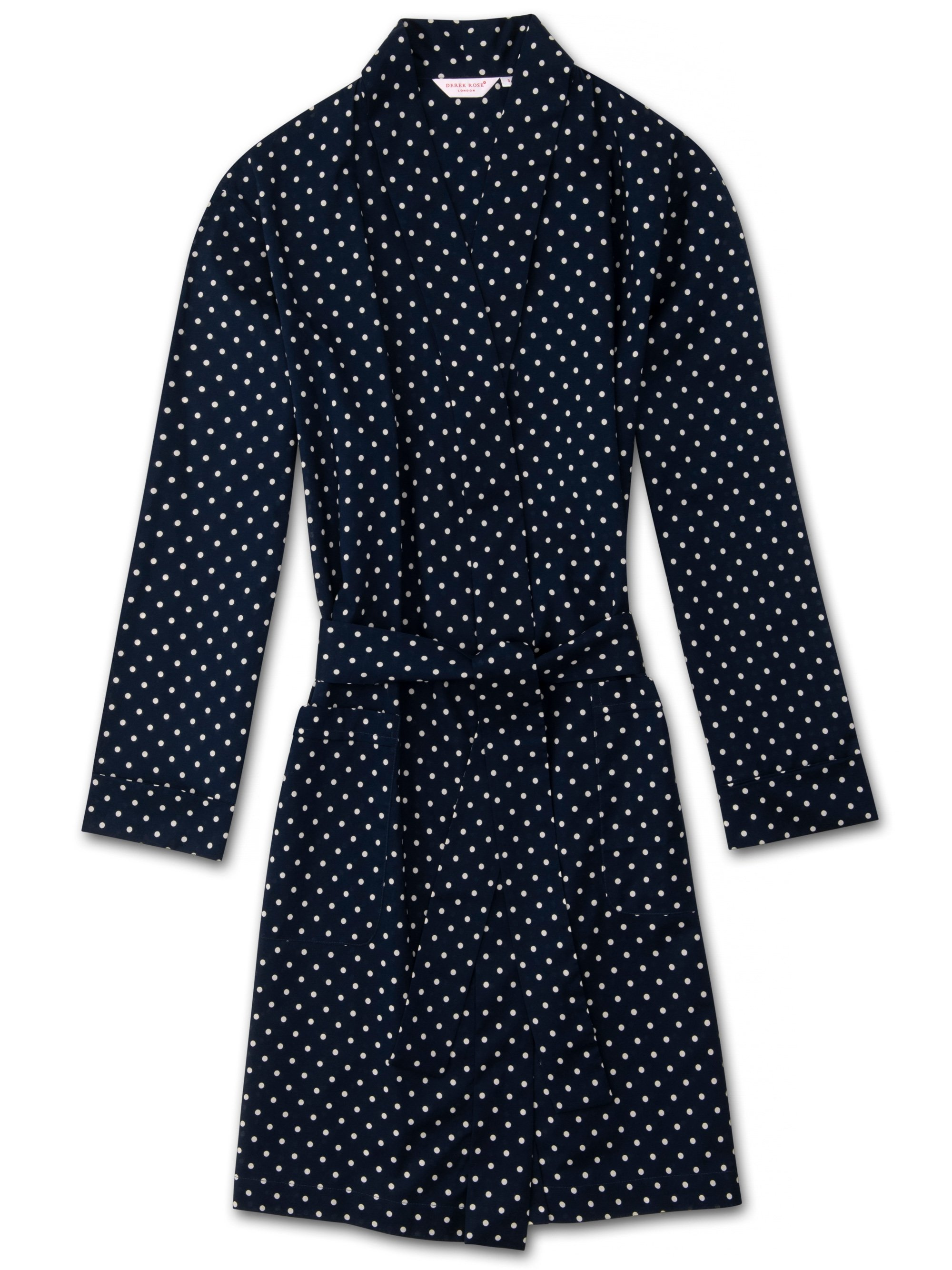 Women's Dressing Gown Plaza 60 Cotton Batiste Navy
