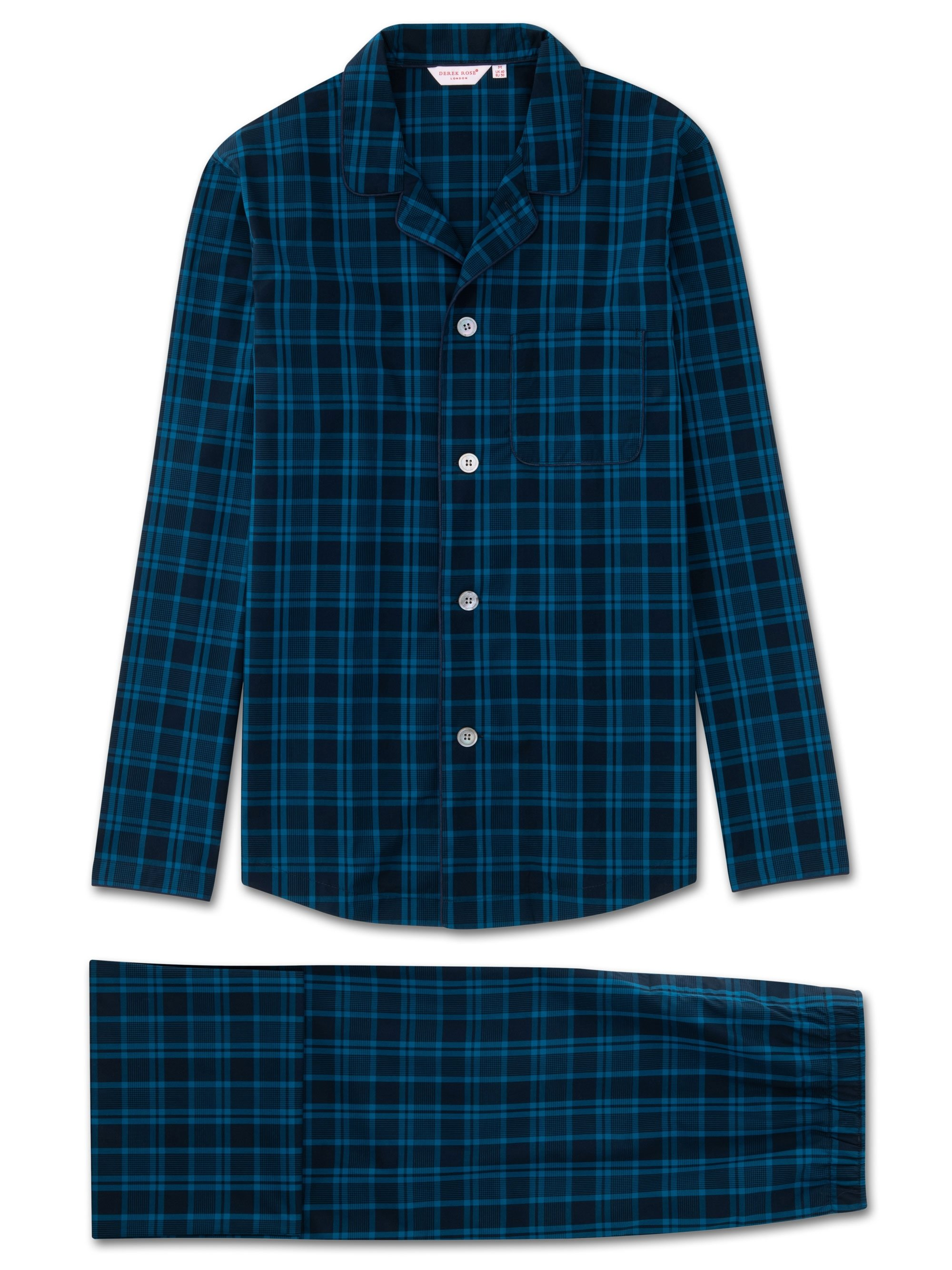 Men's Modern Fit Pyjamas Barker 24 Cotton Check Navy