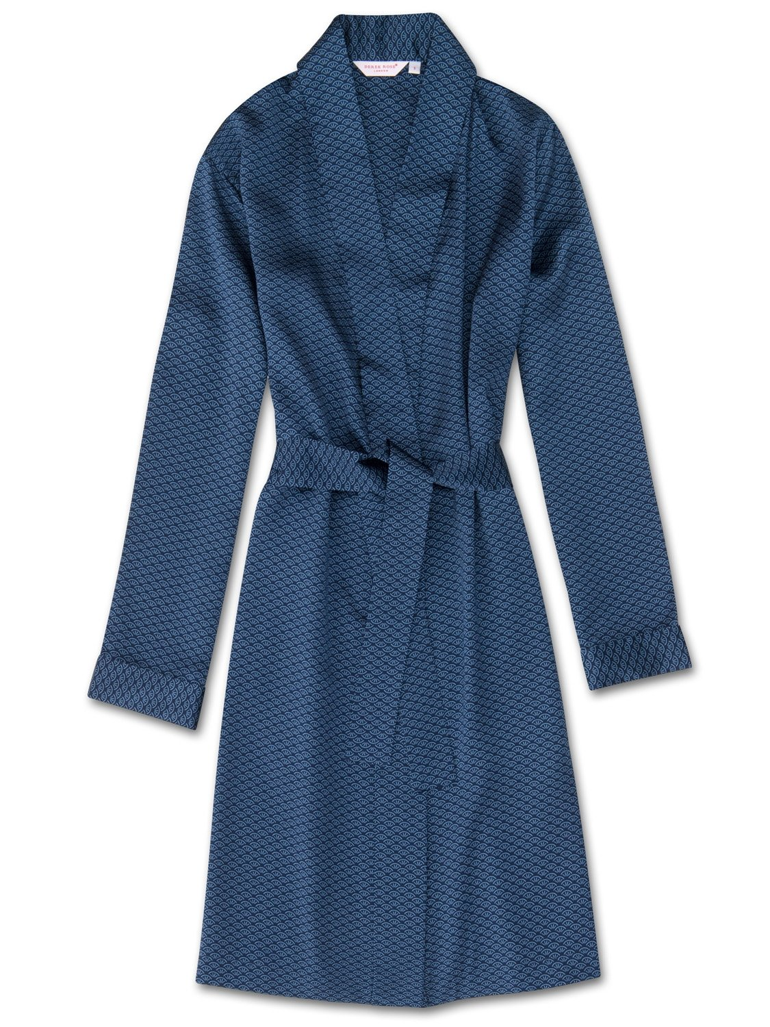 Women's Dressing Gown Brindisi 26 Pure Silk Satin Navy