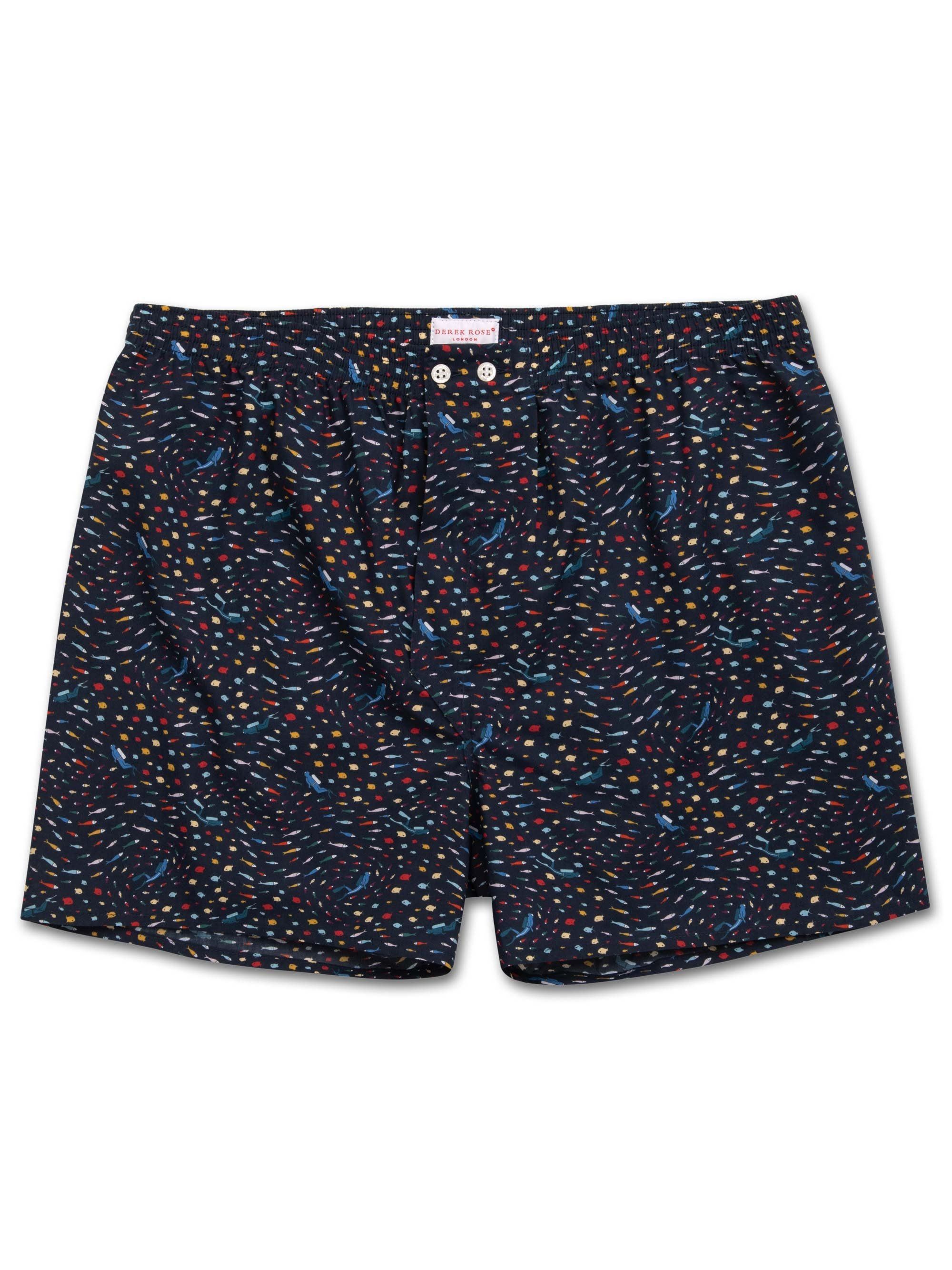 Men's Classic Fit Boxer Shorts Ledbury 29 Cotton Batiste Navy